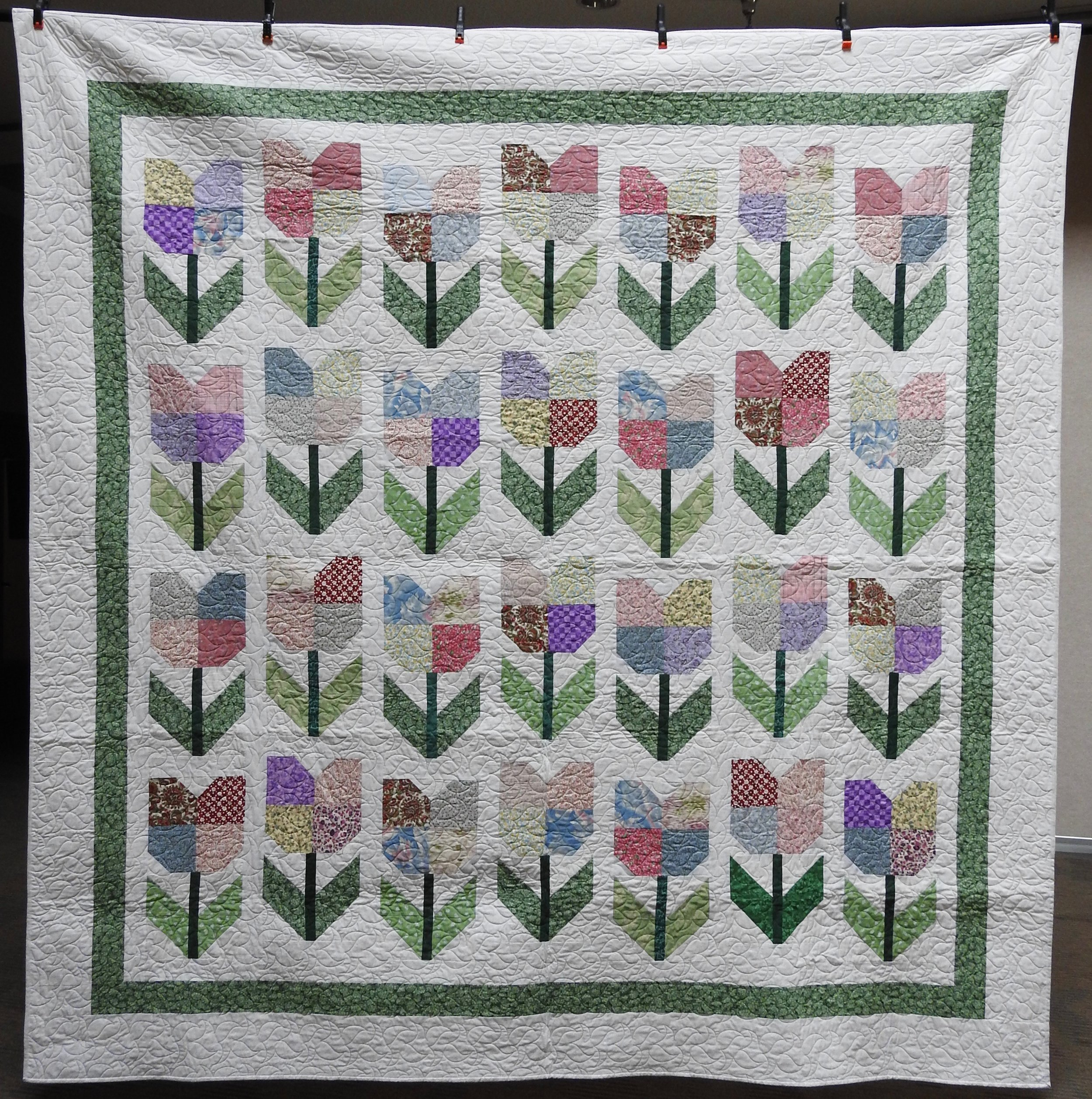 Totally Tulips, Pieced by Ruby Bontreger, Edge to Edge Machine Quilted, Signed & Dated, donated by First Mennonite, Middlebury, 96 x 96""