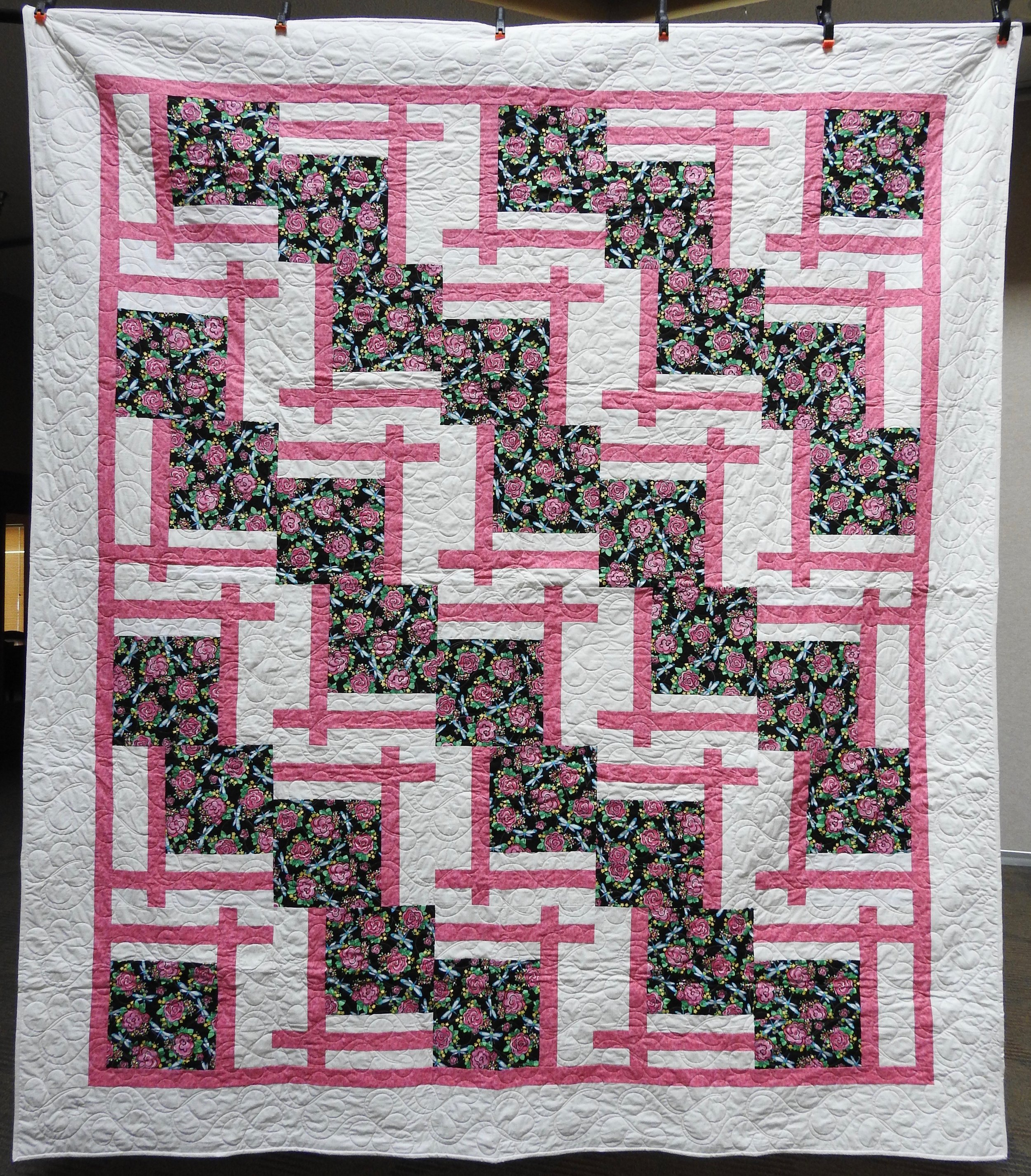 Posies in Pink, Pieced by Ruby Bontreger, Edge to Edge Machine Quilted, Signed & Dated, donated by First Mennonite, Middlebury, 80 x 91""