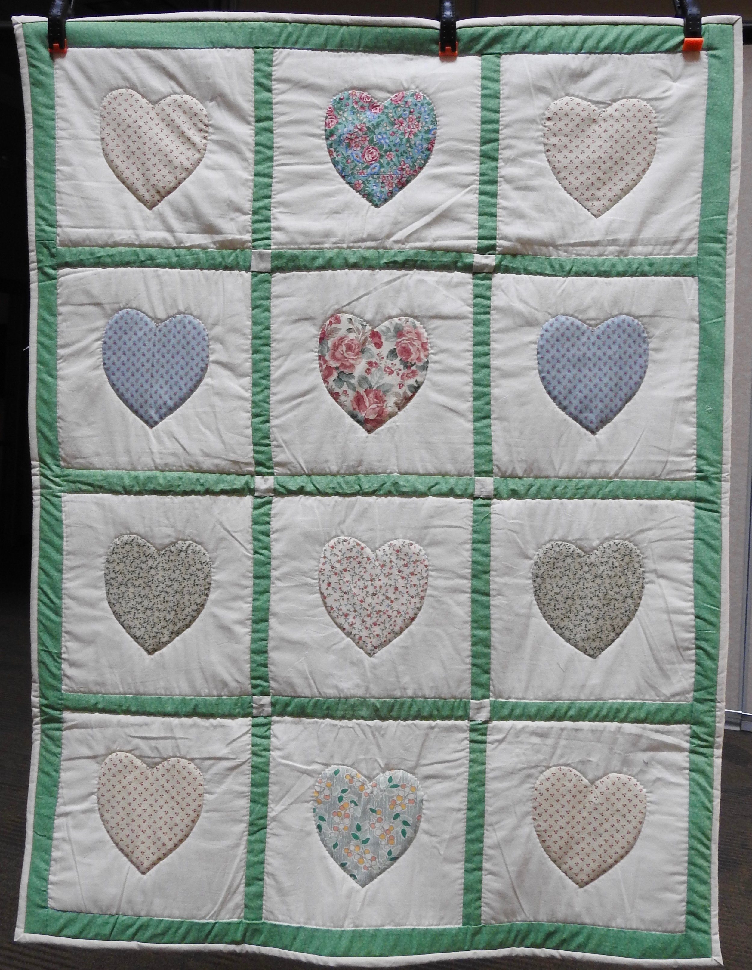 Hearts Baby Quilt, Pieced, Appliquéd and Hand Quilted, Clinton Frame Church, 35 x 45""