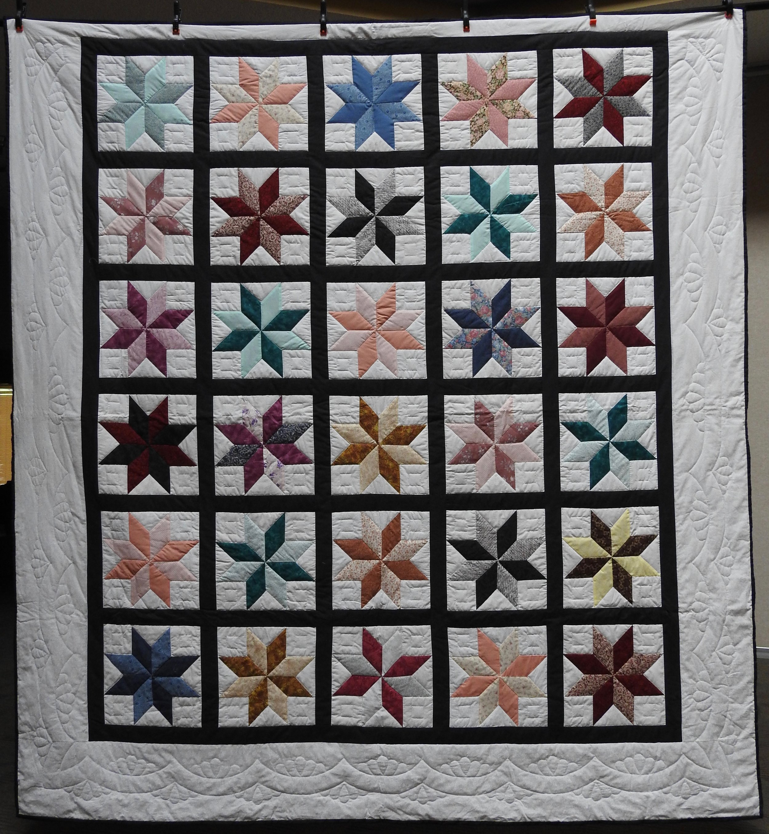 Eight Pointed Star, Pieced, Hand Quilted, Clinton Frame Church, 97 x 104""