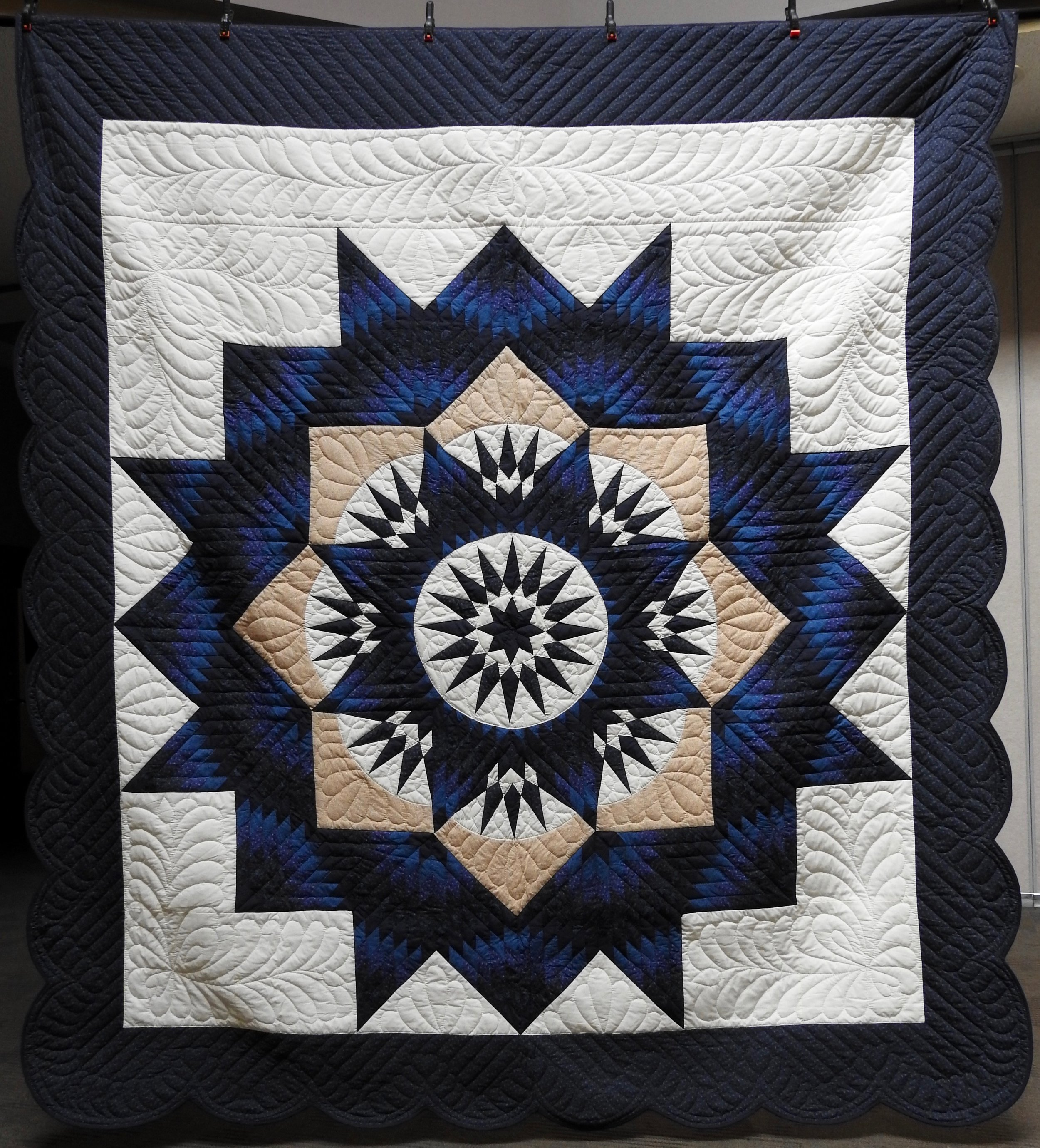 Bright Star, Pieced, Hand Quilted, donated Anonymously, 103 x 112""