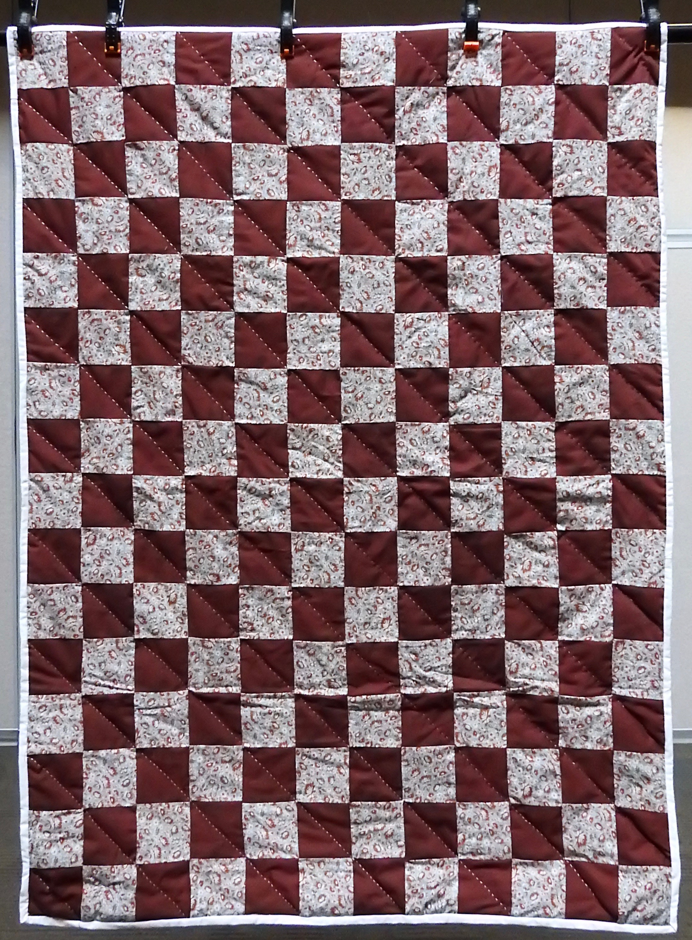 Burgundy Blocks Baby Quilt, Pieced, Long Stitch Hand Quilted, donated by First Mennonite, Middlebury, 40 x 54""