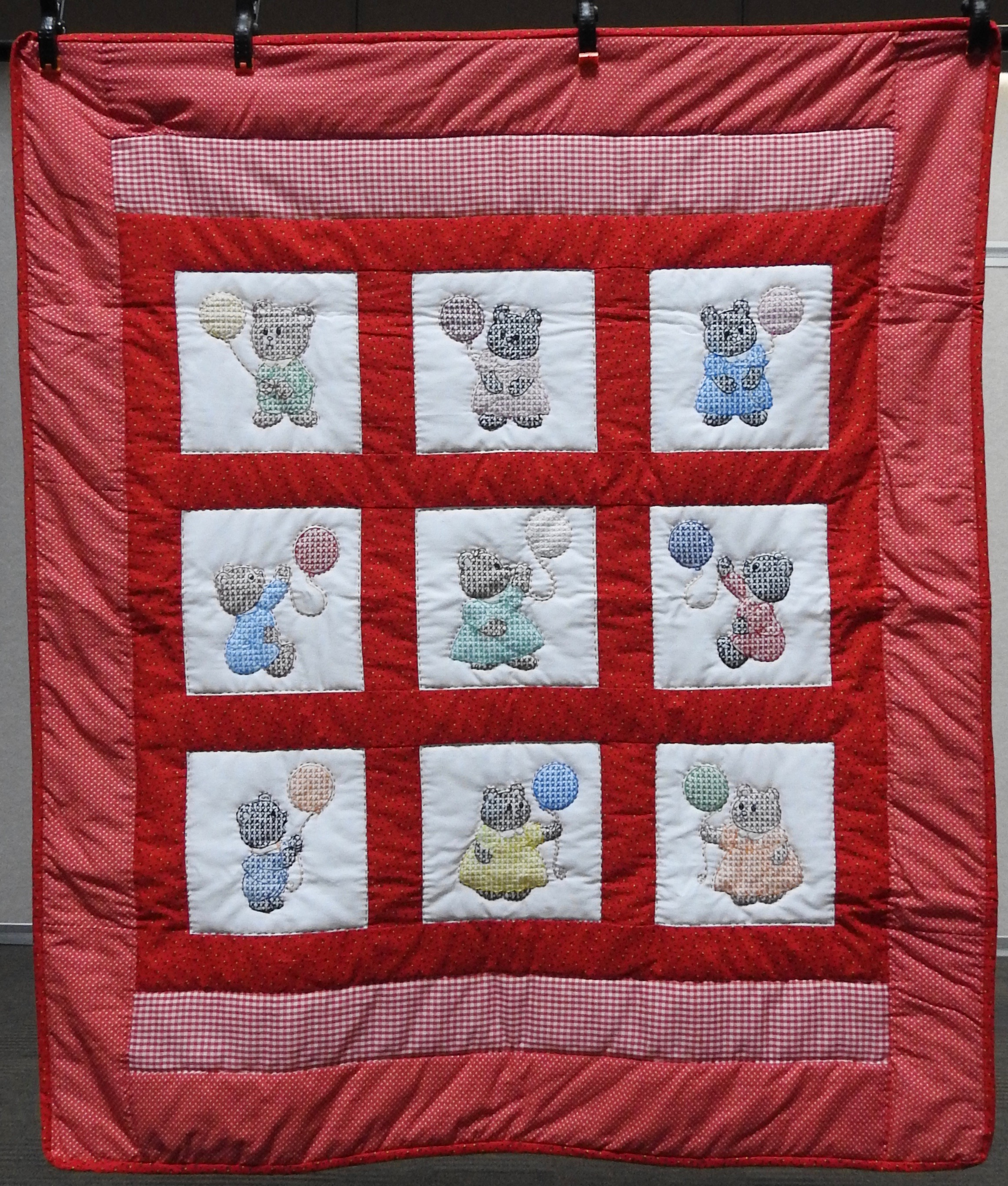Bears & Balloons Baby Quilt, Embroidered, Long Stitch Hand Quilted, First Mennonite,  donated by Middlebury, 43 x 51""
