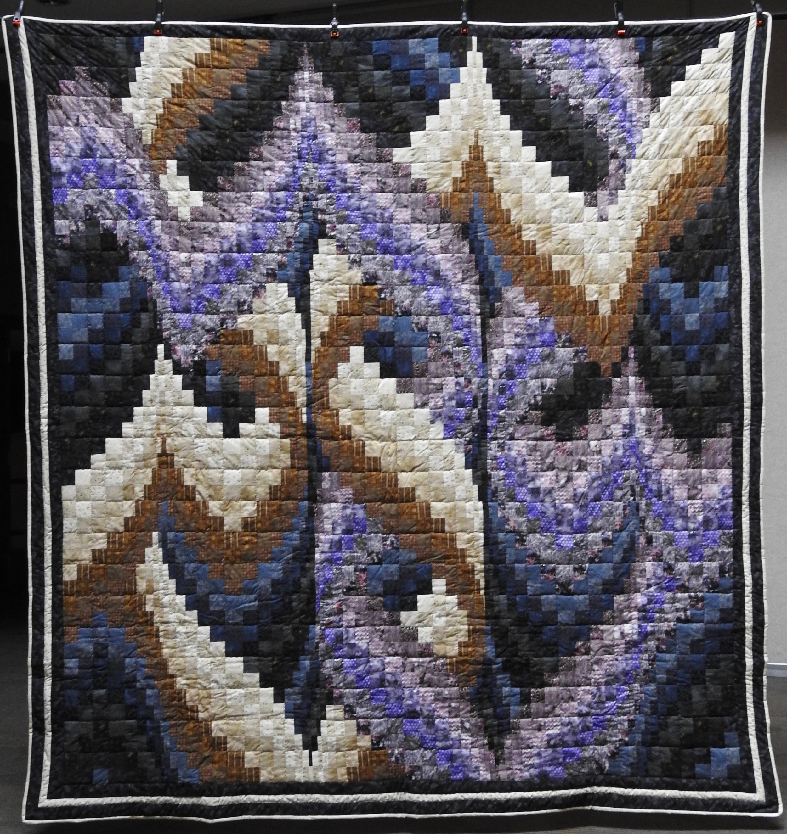 Braided Bargello, Pieced, Hand Quilted, Donated by Kokomo Amish Church, 96 x 100""