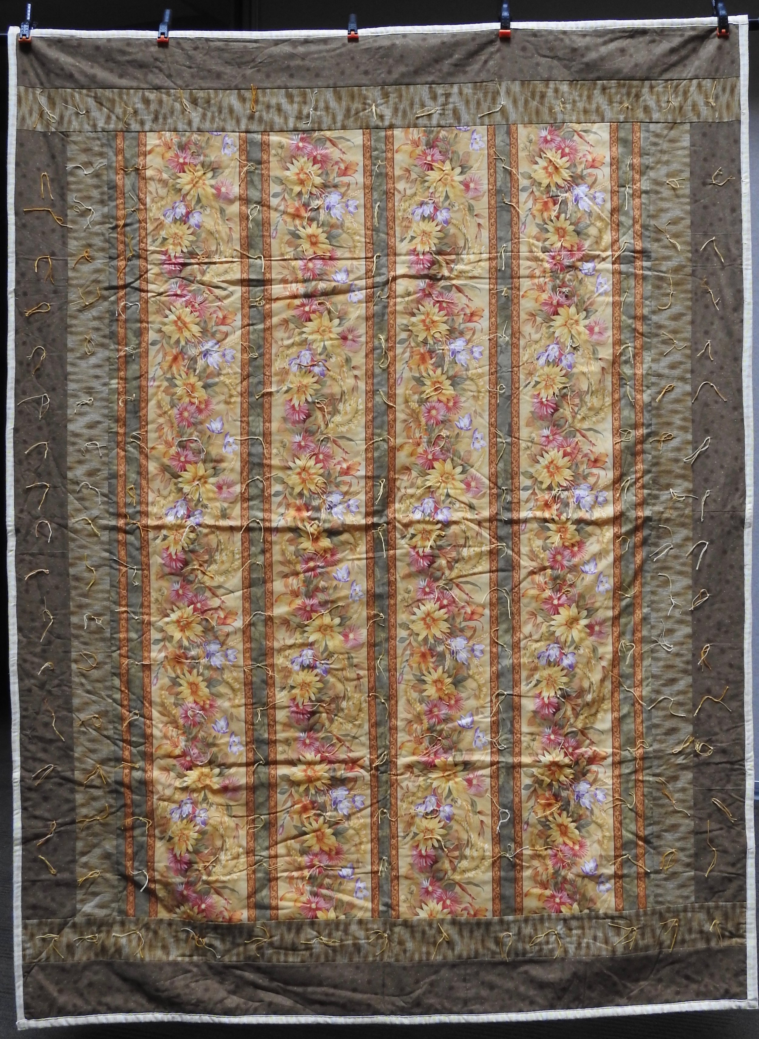 Summer Flowers Comforter, Pieced & Knotted, donated by Howard-Miami Mennonite Church, 60 x 80""