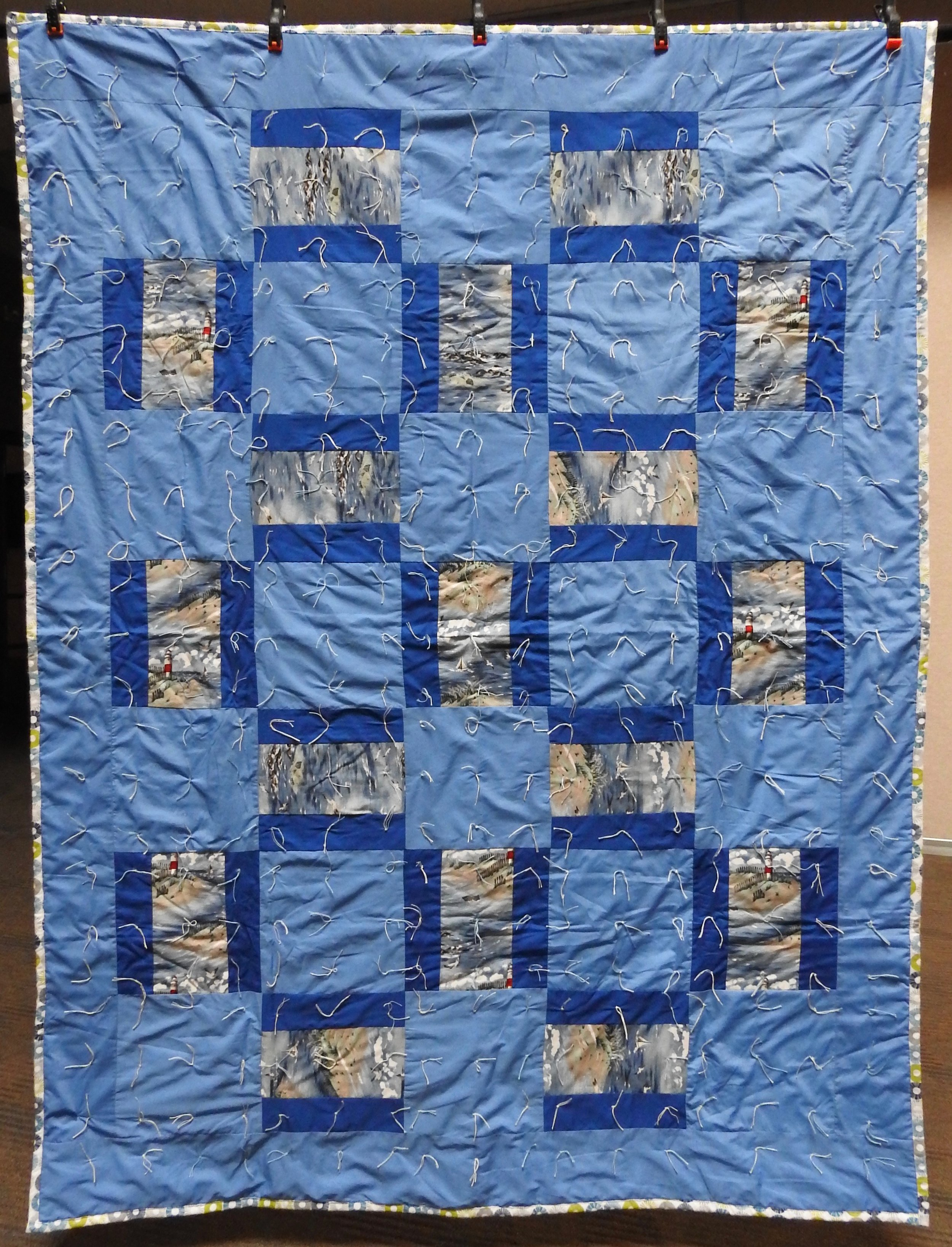 By the Sea Comforter, Pieced & Knotted, donated by Howard-Miami Mennonite Church, 60 x 80""