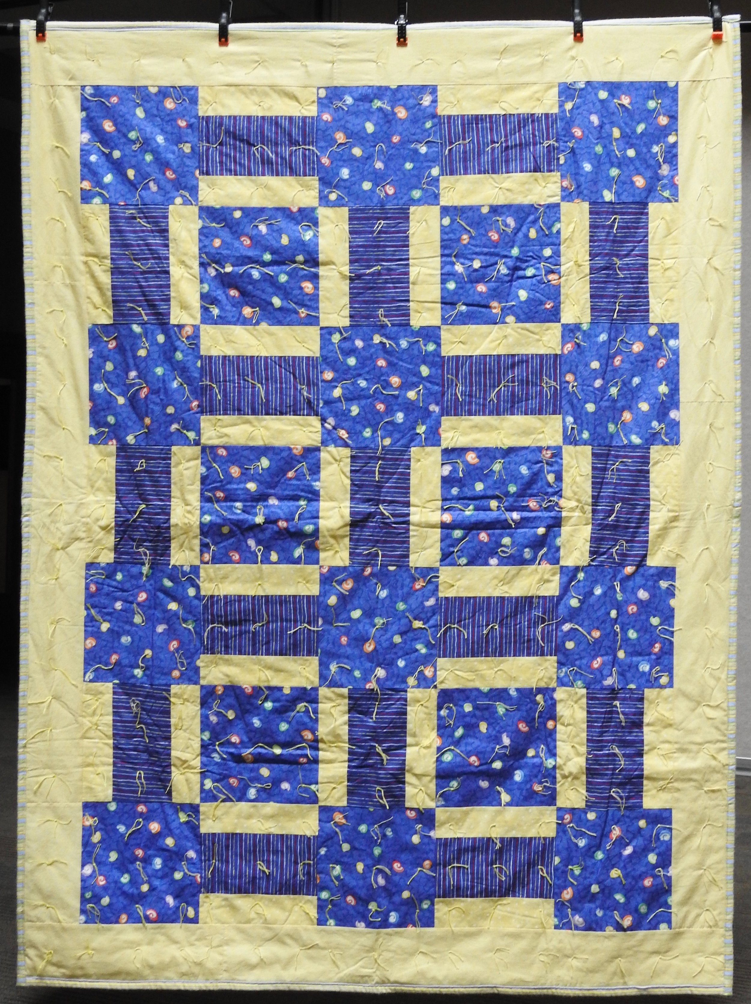 Day & Night Comforter, Pieced & Knotted, donated by Howard-Miami Mennonite Church, 60 x 80""