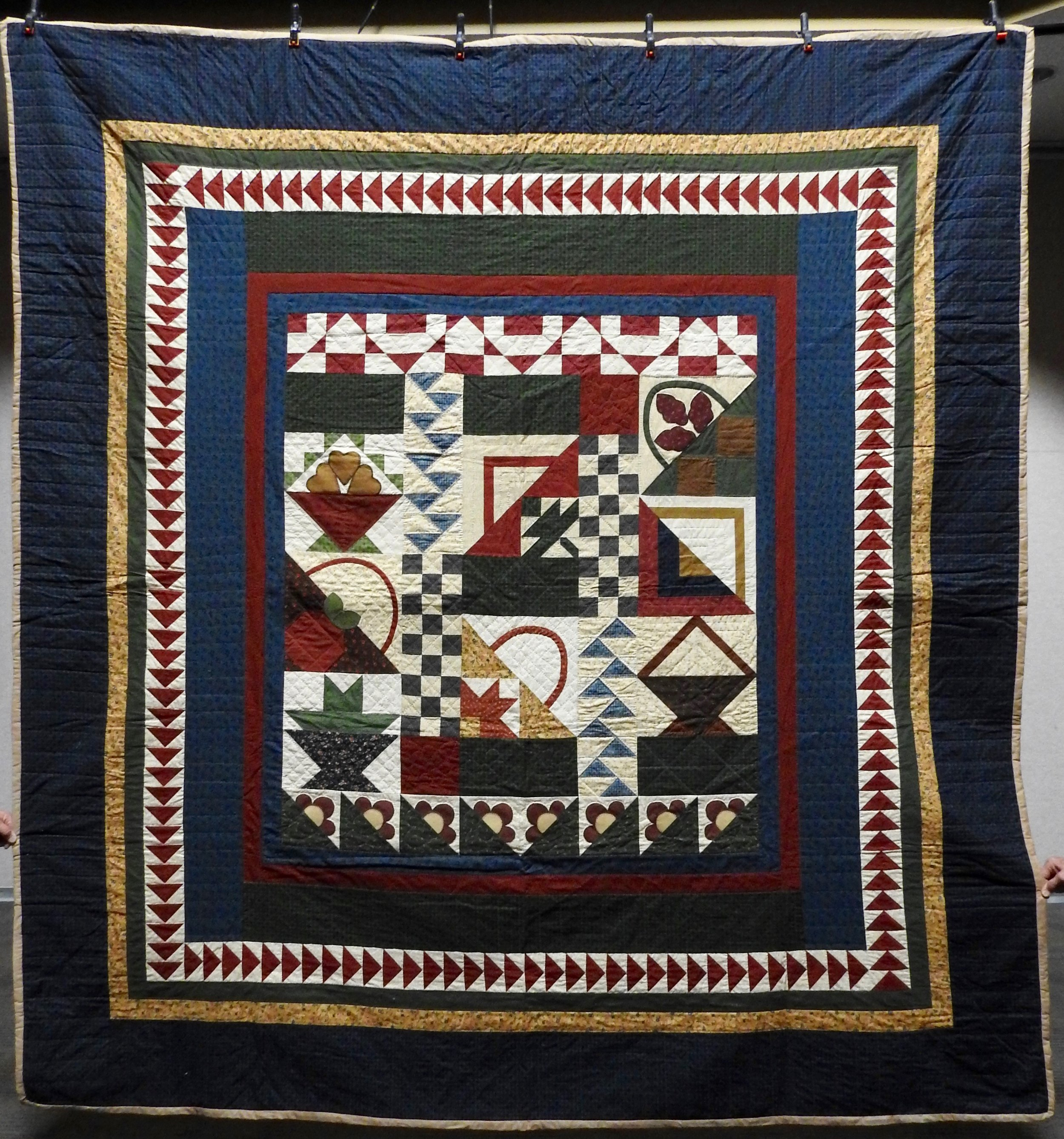 Early American Sampler, Pieced & Appliquéd, Hand Quilted, (cotton batting) donated by Howard-Miami Mennonite Church, 100 x 108""