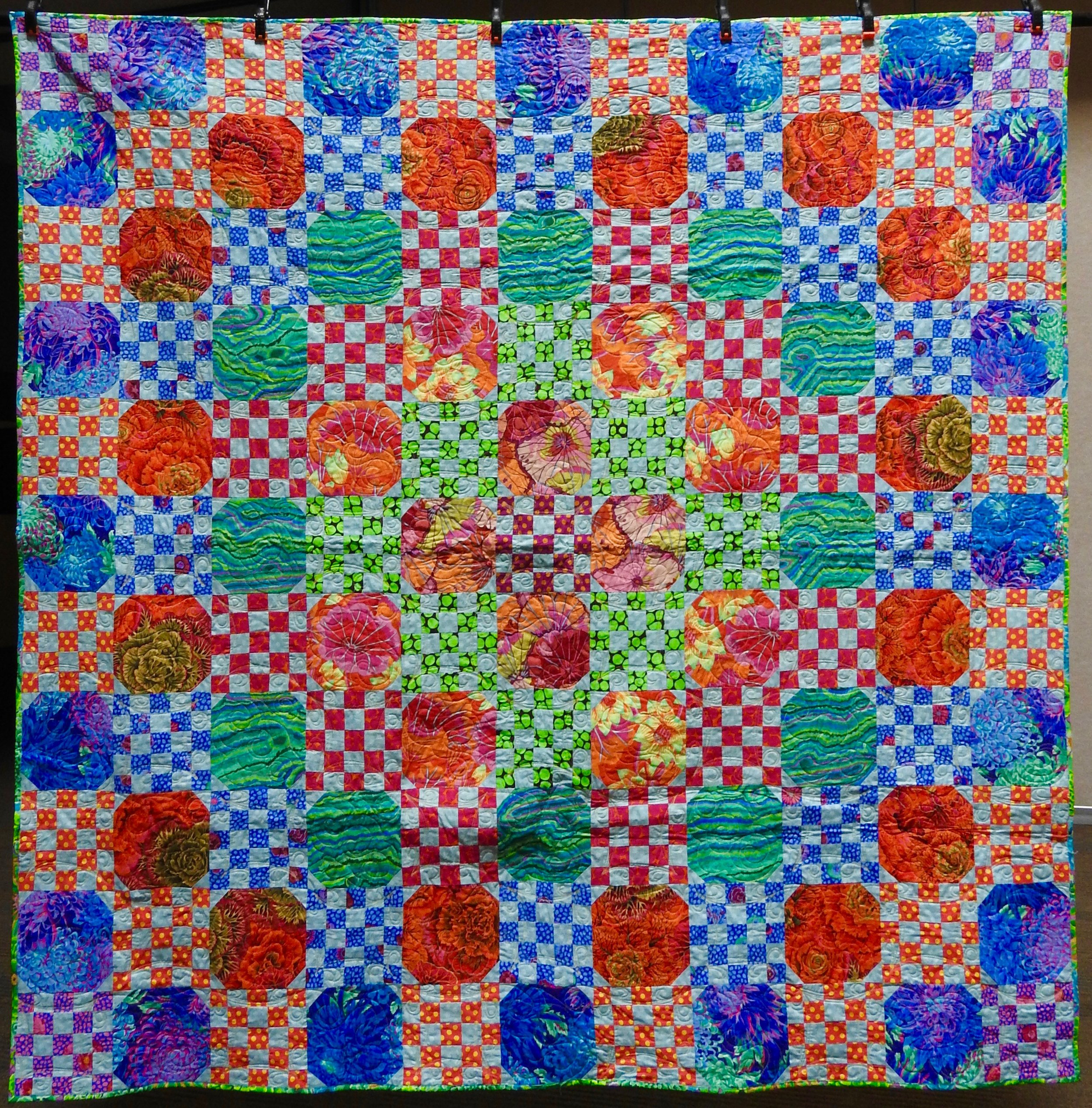 Kaffe Fassett 2018 Mystery Quilt, Pieced, Custom Machine Quilted, donated by Linda Duncan, 80 x 80""