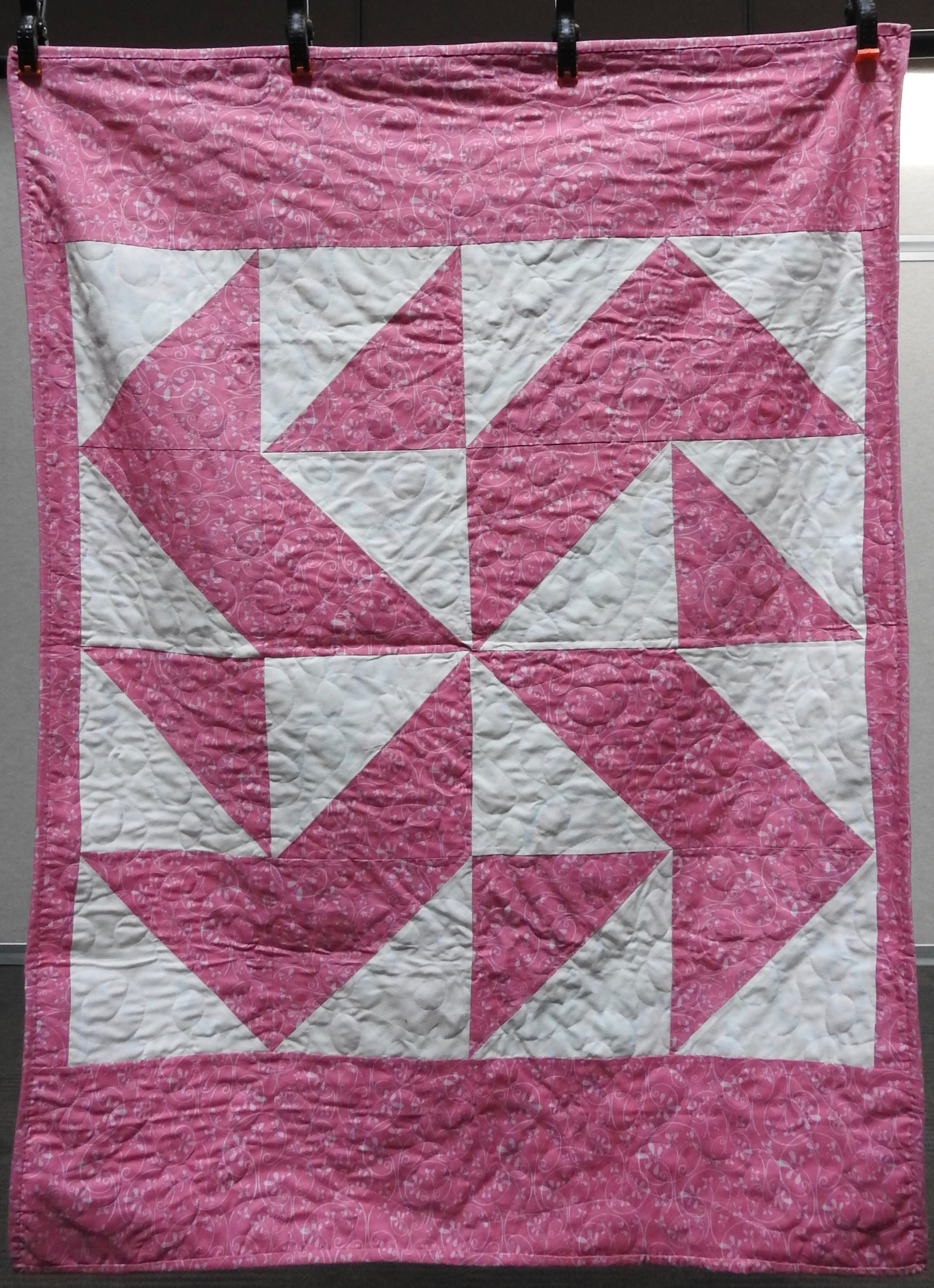 Twirling 'Round Baby Quilt, Pieced, Plush Back, Edge to Edge Machine Quilted, donated anonymously, 38 x 51""