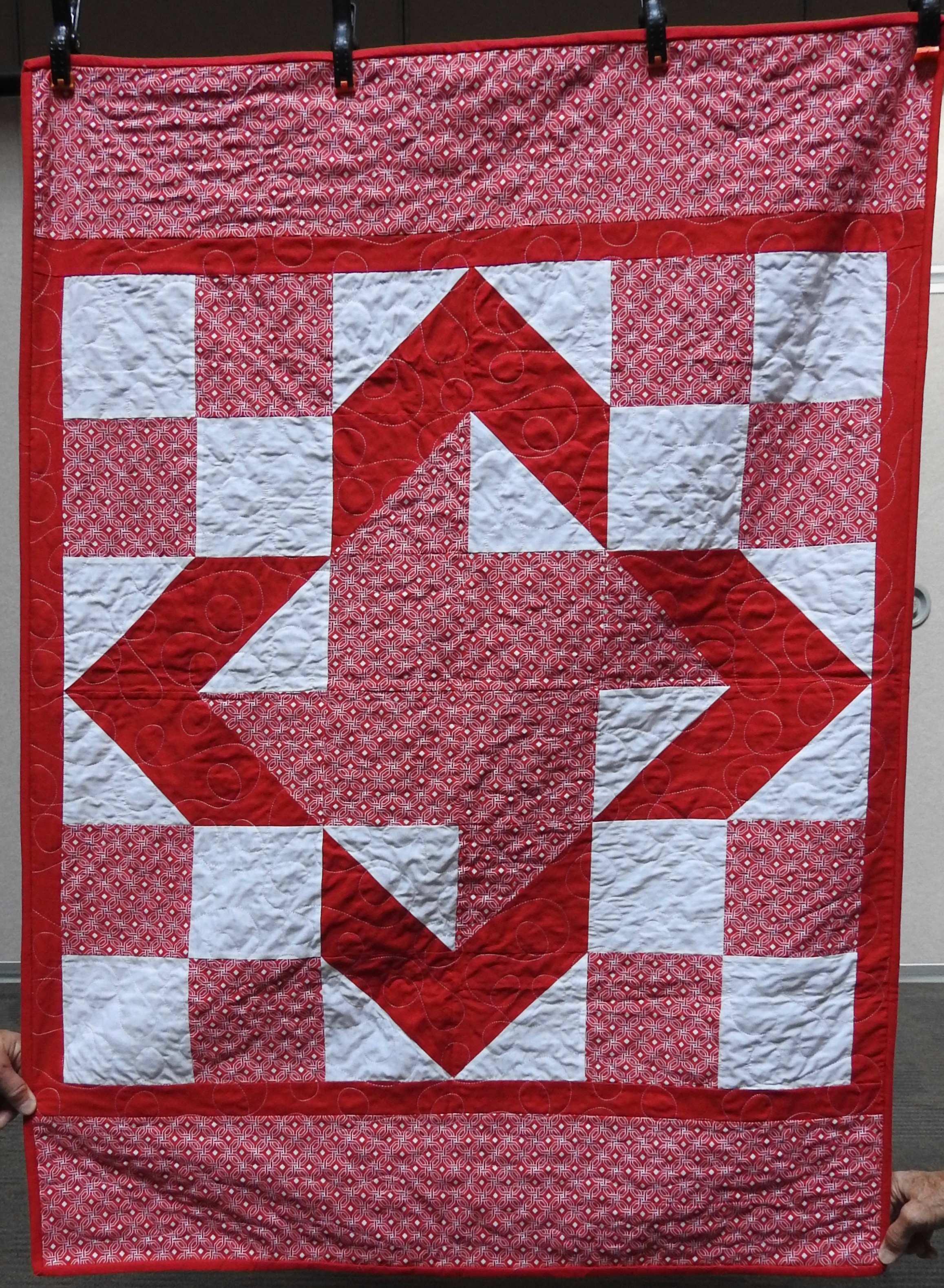 Windmill Variation Baby Quilt, Pieced, Plush Back, Edge to Edge Machine Quilted, donated anonymously, 36 x 50""