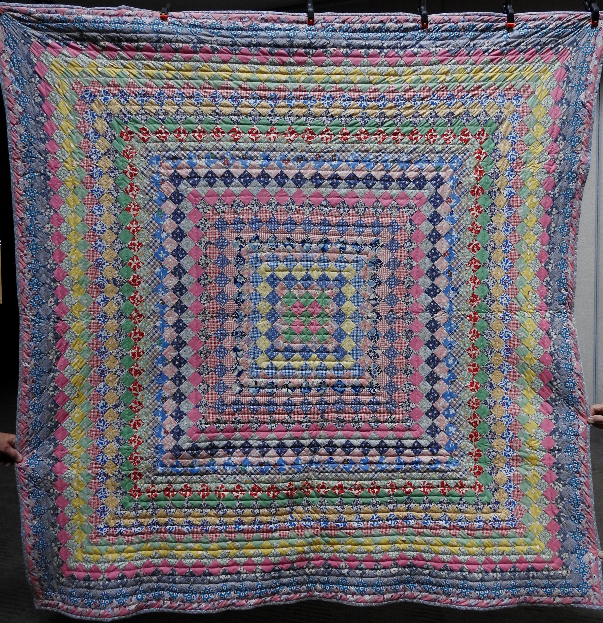 Vintage Boston Commons, Pieced, Hand Quilted by Evergreen Place Quilters, donated anonymously, 74 x 76""