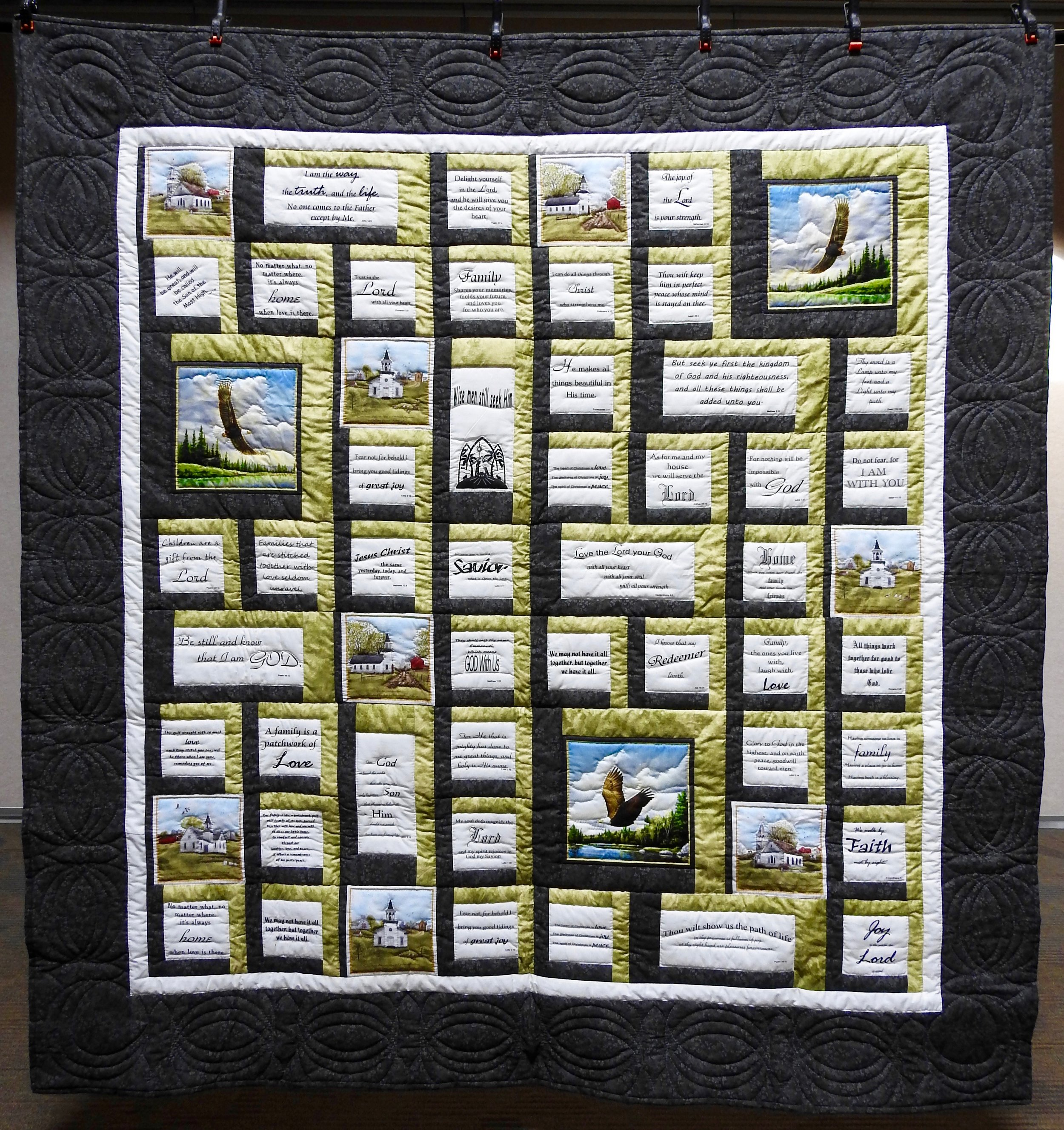 Bible Verses, Pieced, Pre=printed Panels, Hand Quilted, donated by the Crafty Ladies of Manor 2-Greencroft, 80 x 84""