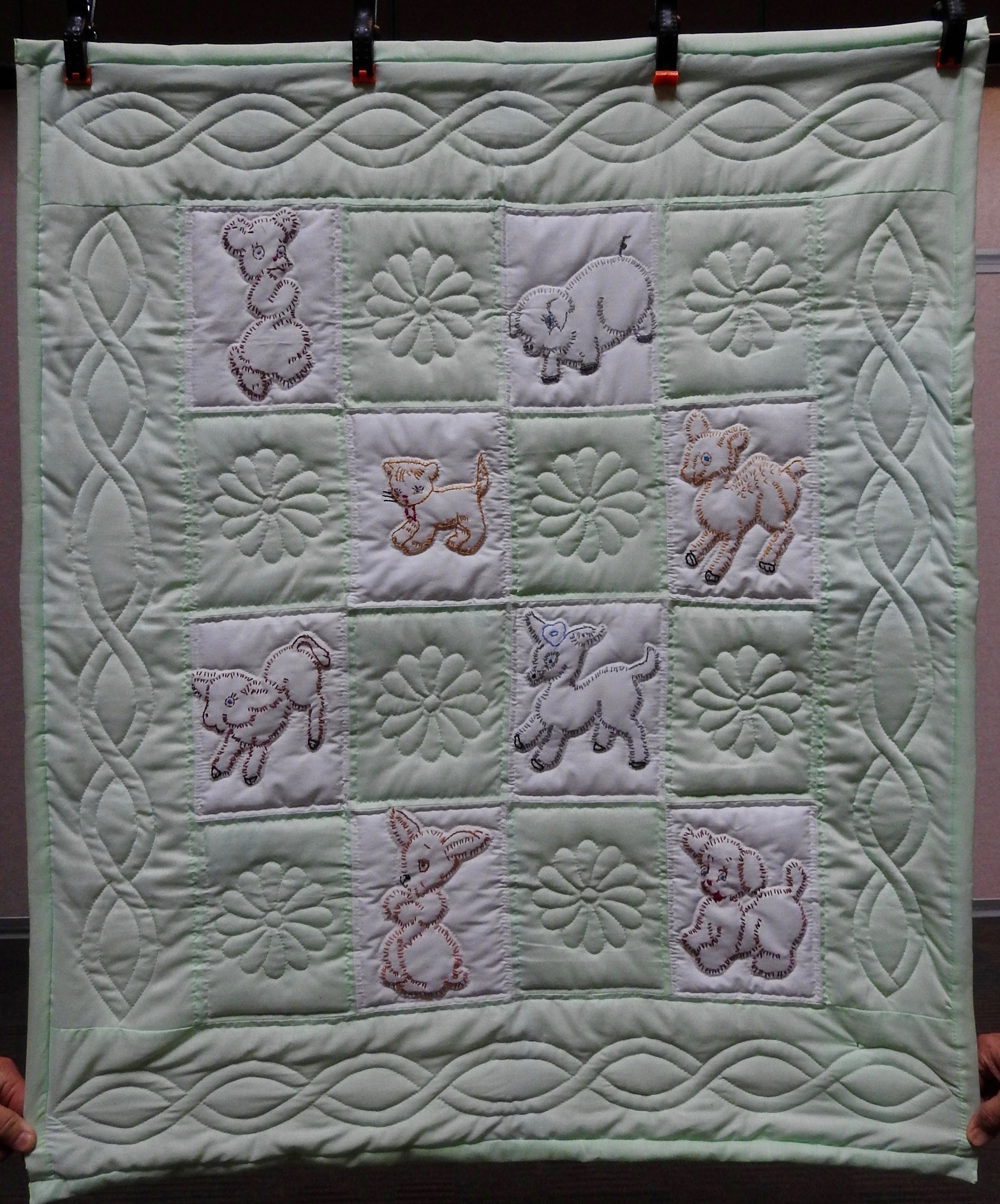 Precious Pets Baby Quilt, Pieced, Embroidered, Hand Quilted, donated by First Mennonite, Middlebury, 36 x 43""