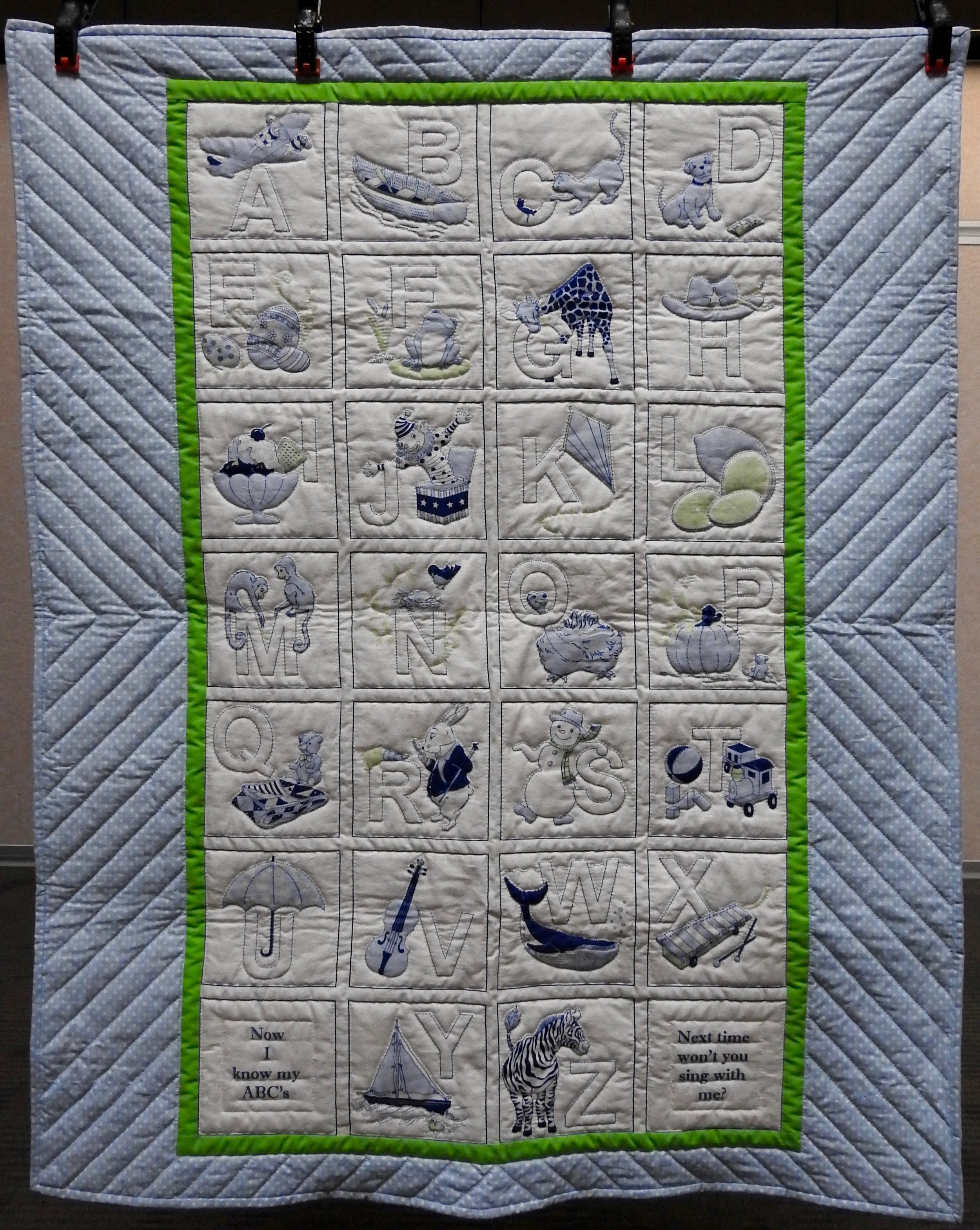 Alphabet Baby Quilt, Pre-printed fabric, Hand Quilted by Virginia A. Hartshough, 36 x 45