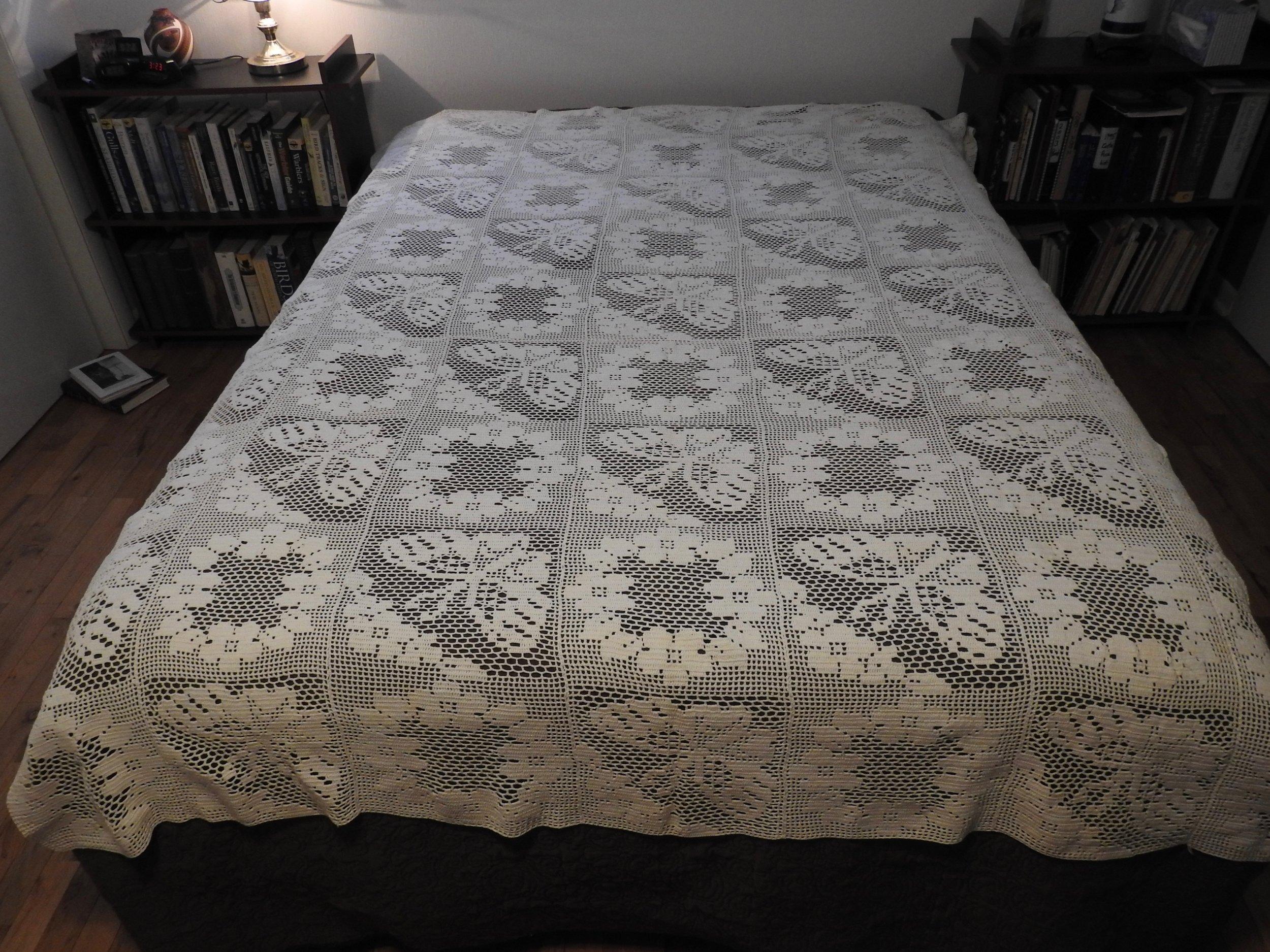 Crocheted Bedspread, Crocheted by Karen Moss, donated by Wayne & Karen Moss, 70 x 87.
