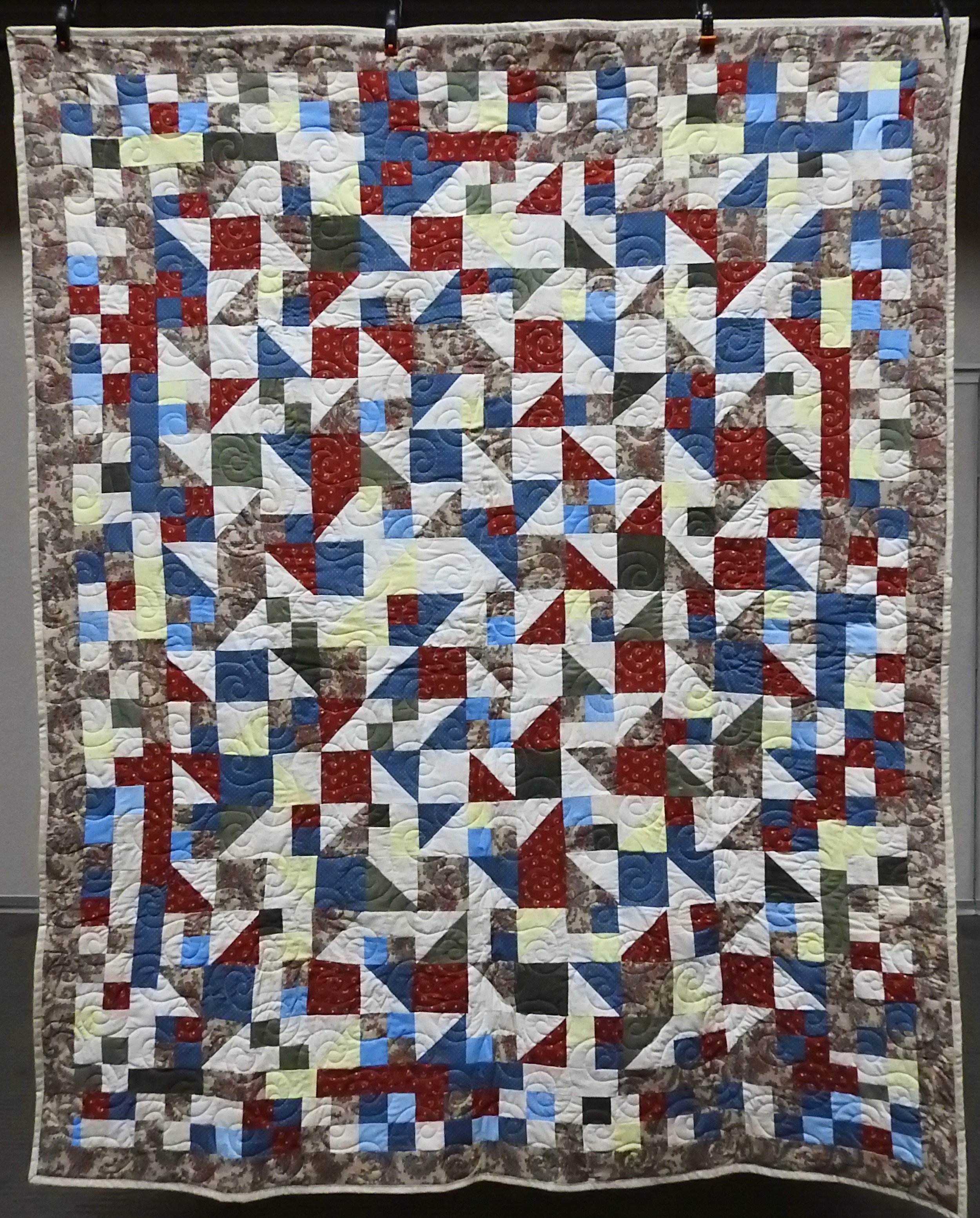 Happy Scrappy Bed Quilt, Pieced, Custom machine Quilted, donated by Barbara Jewett, 74 x 90""