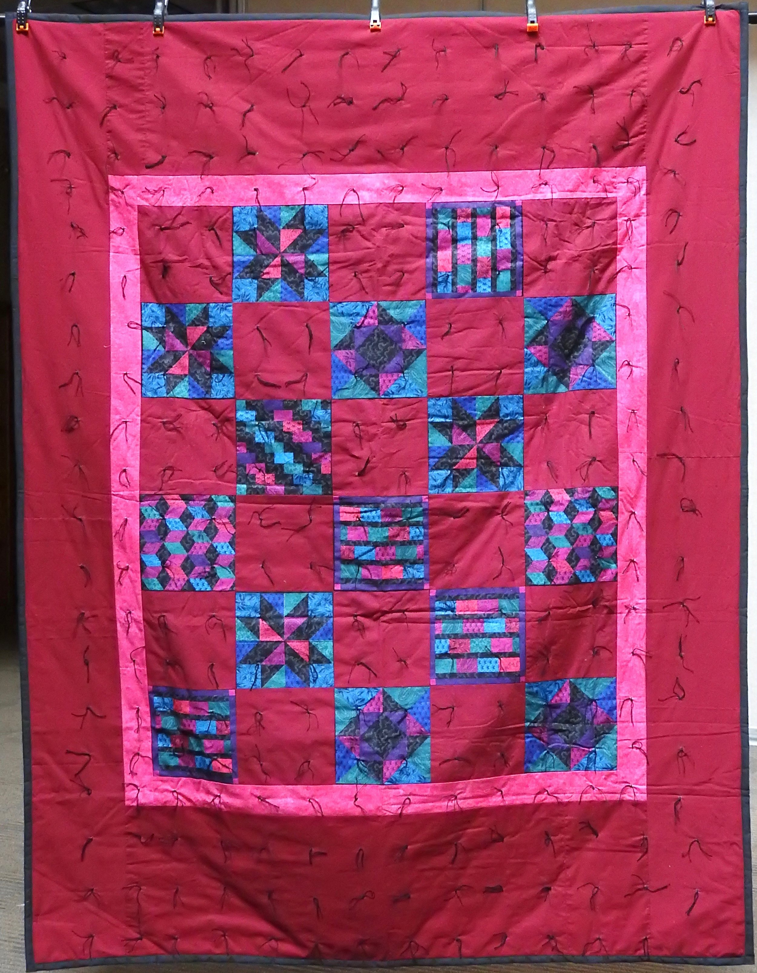 """Color Me Bright Comforter, Pieced, Knotted, donated by Howard Miami Mennonite Church, 60 x 80"""""""
