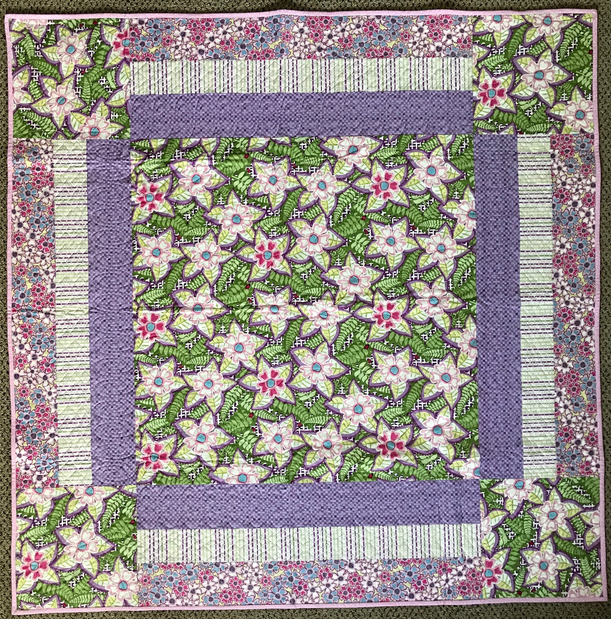 """Flowers Galore, Pieced, Hand Quilted, donated by Phyllis Schrag, 54 x 54"""""""
