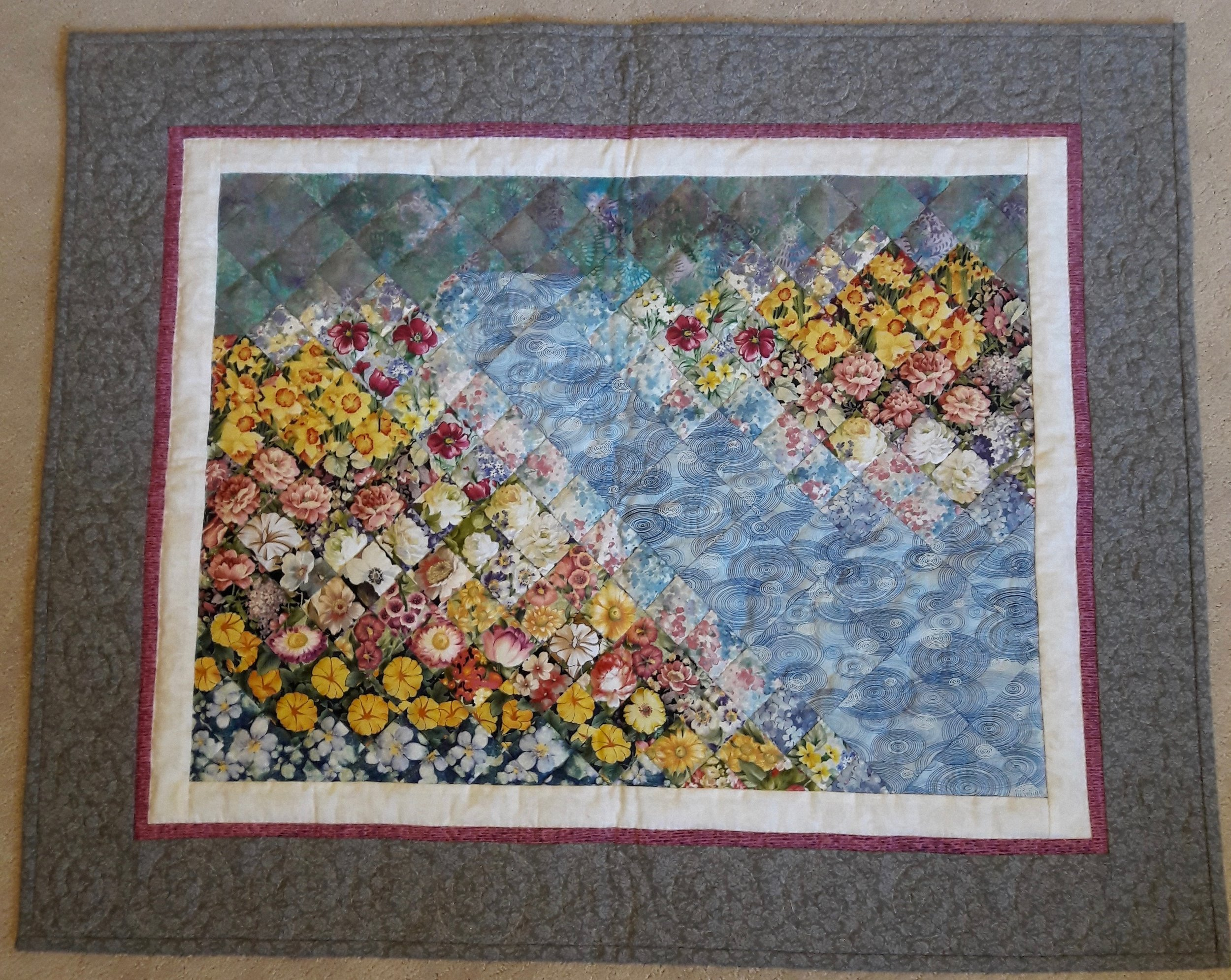 """April Showers, May Flowers, Designed & Pieced by Cindy Helmuth, Hand Quilted by Eunice Chupp, donated by Cindy Helmuth, 27 x 34"""""""