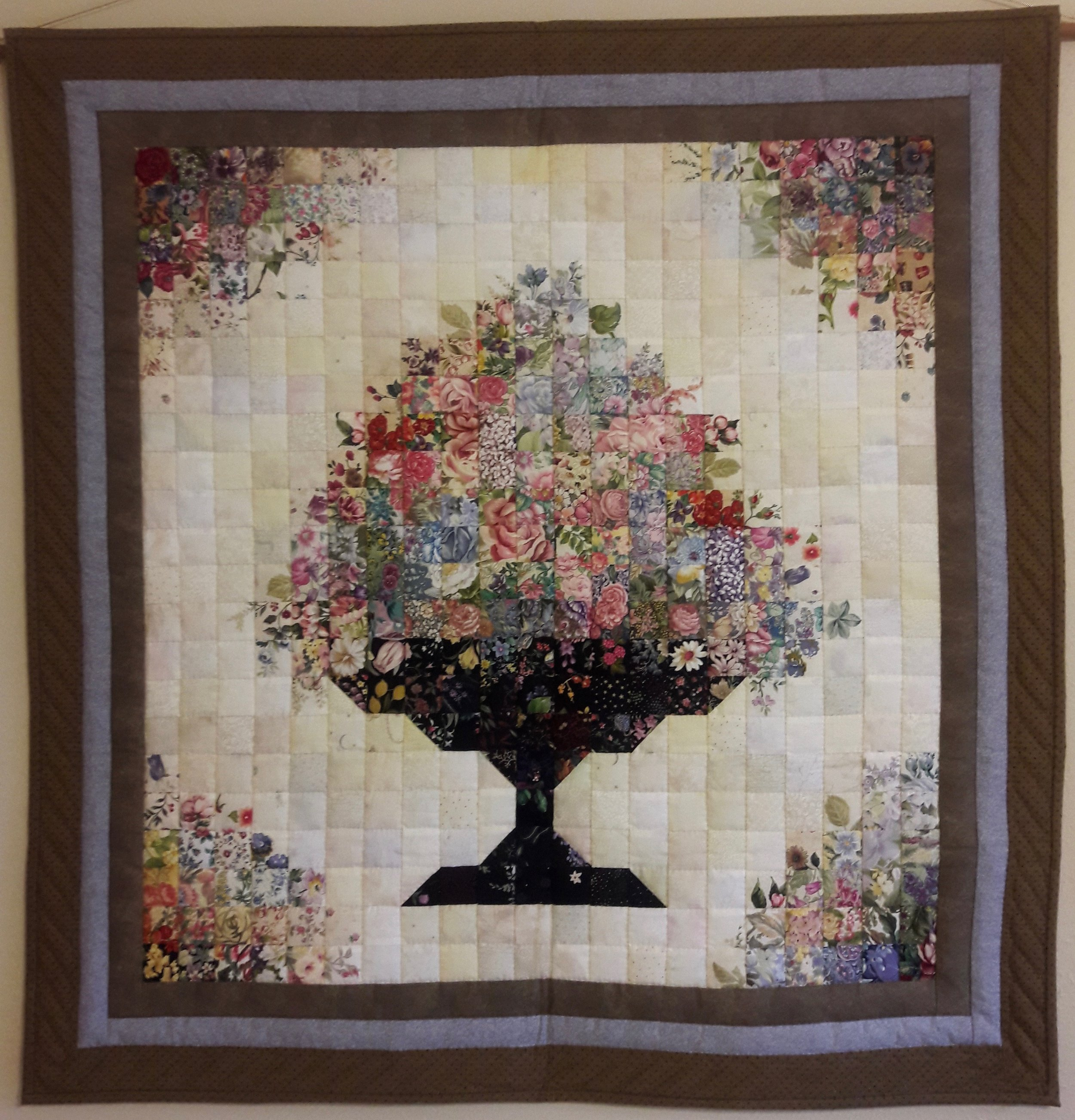 """Well Urned, Designed & Pieced by Cindy Helmuth, Hand Quilted by Eunice Chupp, donated by Cindy Helmuth, 39 x 41"""""""