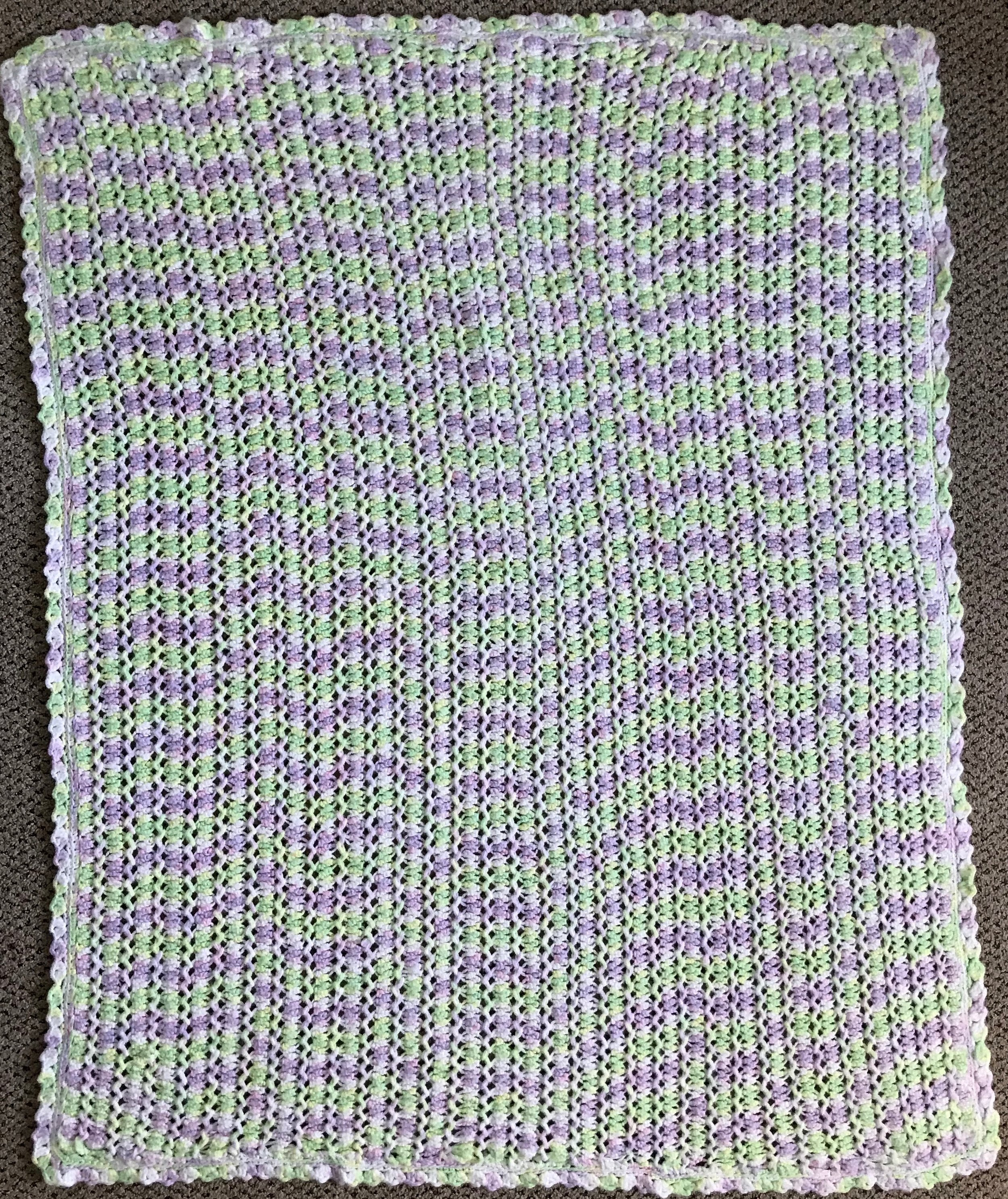 Sweet, Crocheted, Baby Afghan, donated Anonymously, 38 x 48