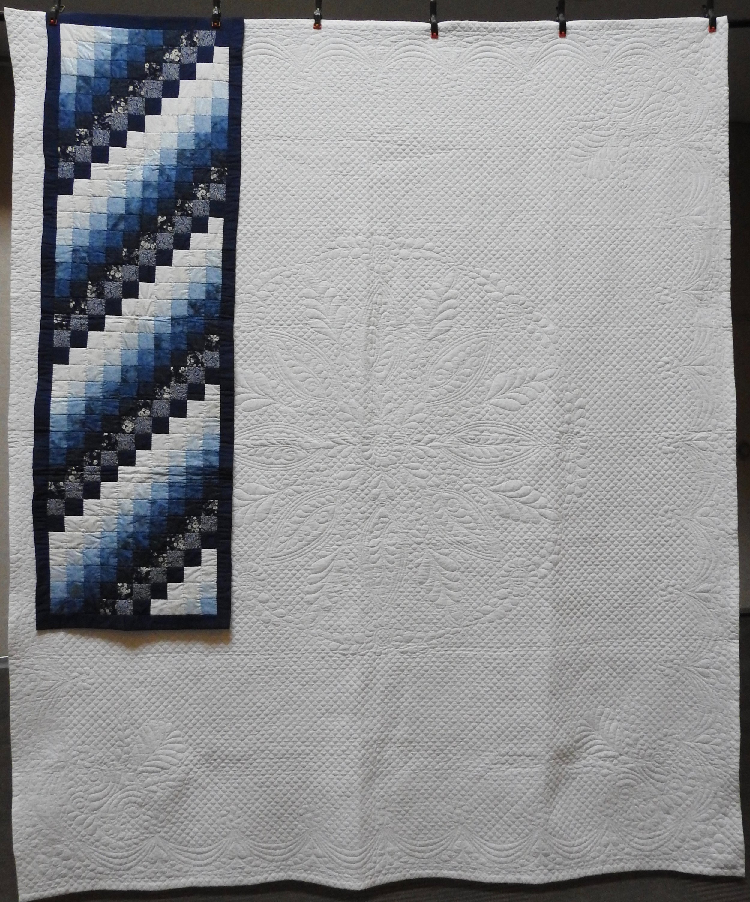 """Wholecloth Welsh Beauty + Accent Bed Runner, Wholecloth Quilt & Pieced Throw, Single Needle Hand Quilted, Quilt Signed & Dated, donated by Marian Miller, 86 x 102"""""""