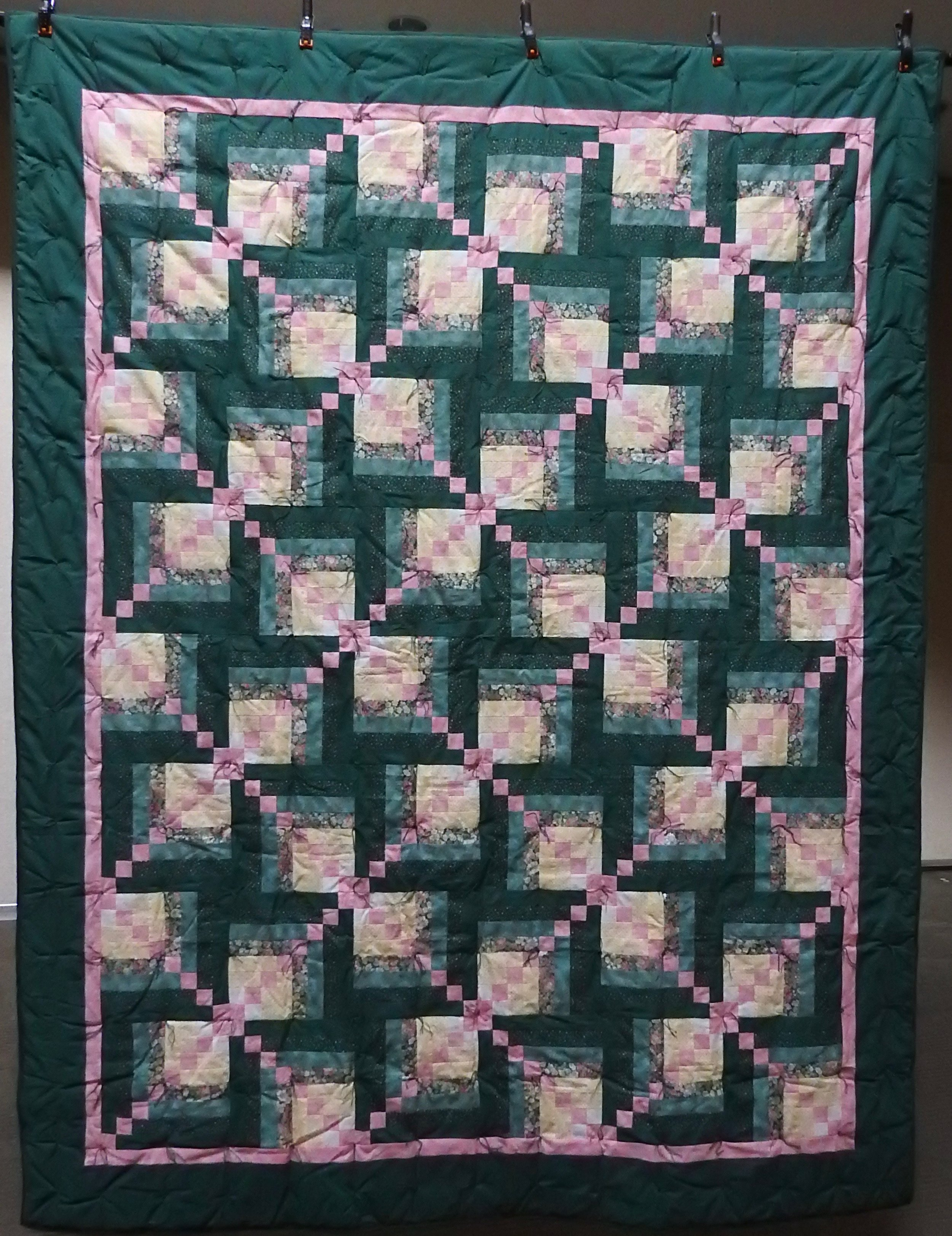 """Log Cabin Variation Comforter, Pieced, Knotted, donated by Waterford Mennonite Women, 64 x 76"""""""