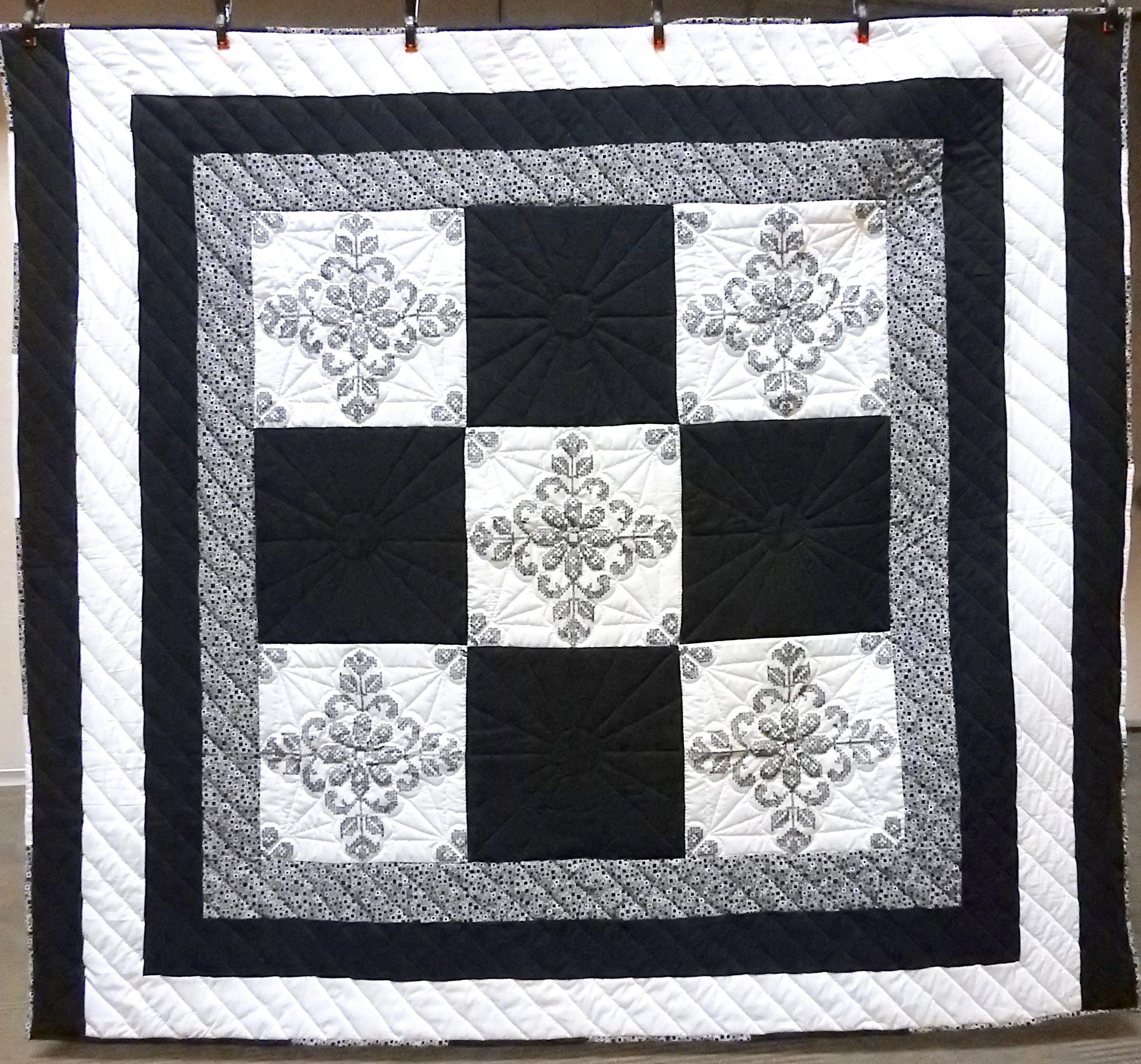 """Midnight Sun, Pieced, Embroidered, Hand Quilted, donated by First Mennonite, Middlebury,  72 x 83"""""""