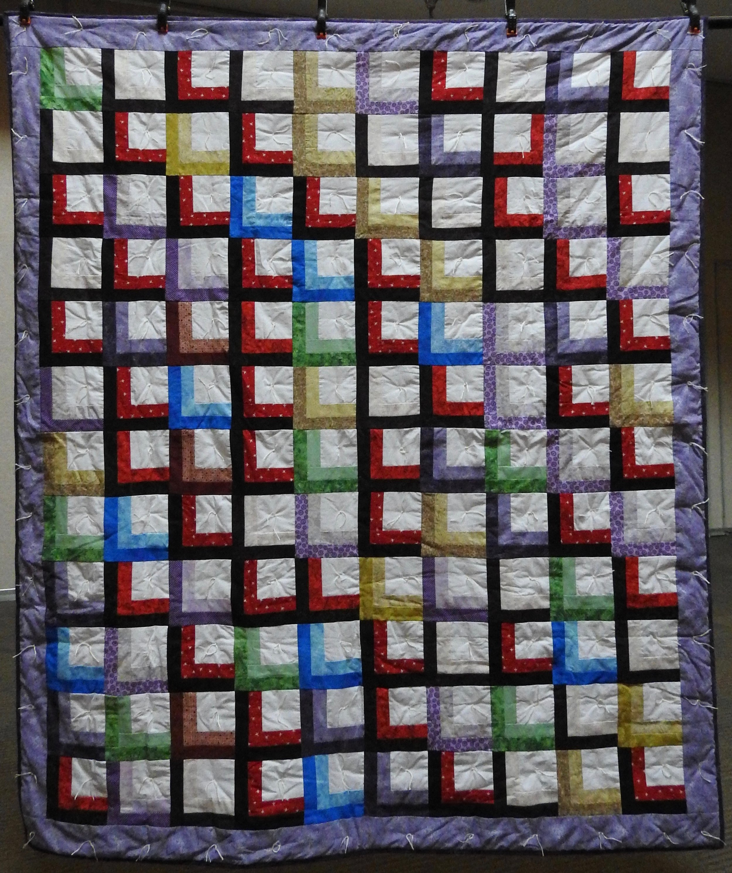 """Shadow Boxes in My Window Comforter, Pieced, Decatur Knotted, donated by Silverwood Mennonite Women, 47 x 60"""""""