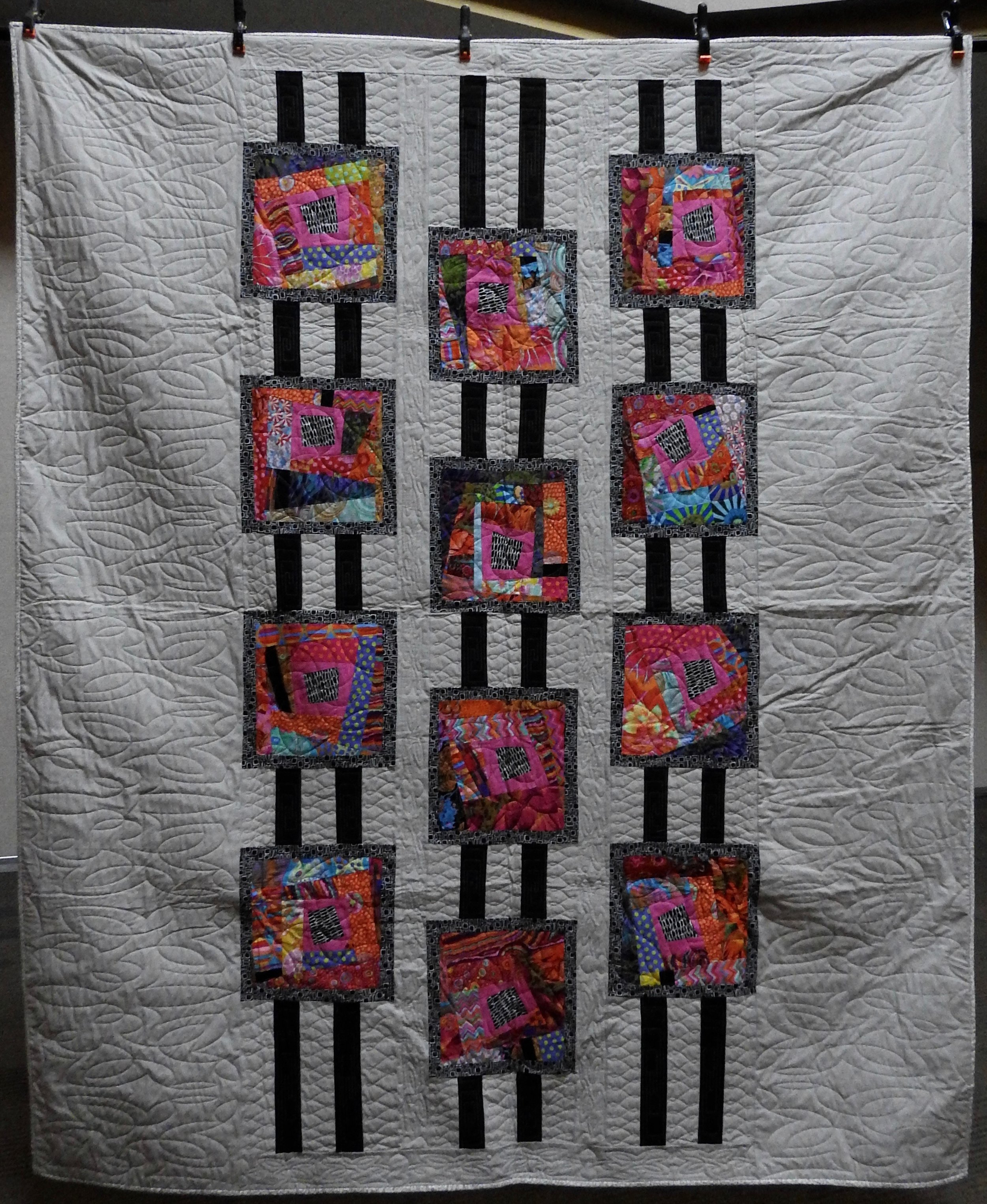 """Child's Game of Jacob's Ladder, AKA Clock Clack, Pieced, (Pattern by Mary Pepper), Custom Machine Quilted, donated by Phyllis Schrag, 80 x 93"""""""