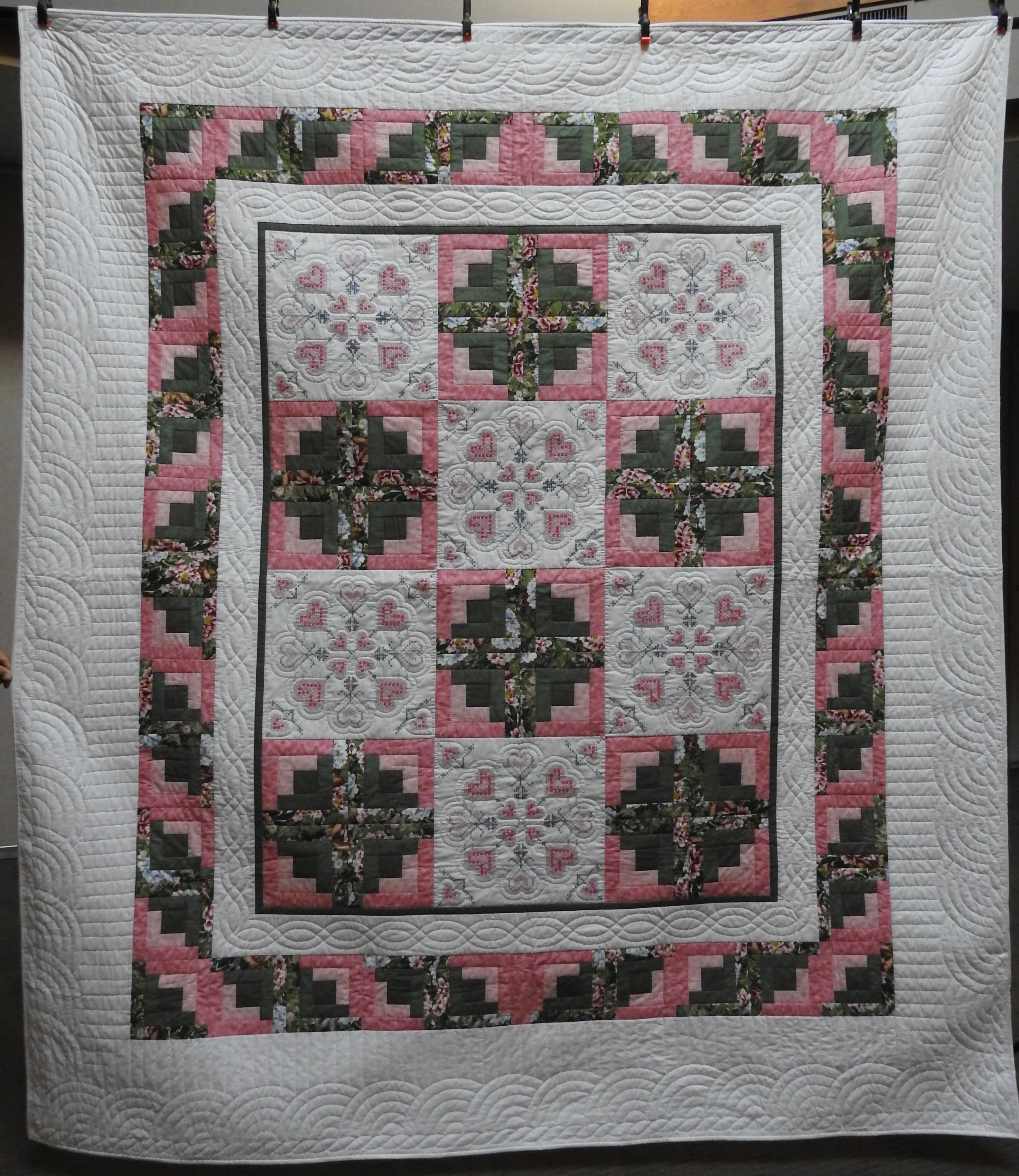 """Log Cabin Variation, Pieced, Embroidered, Hand Quilted, donated by Townline Mennonite Church, 95 x 108"""""""