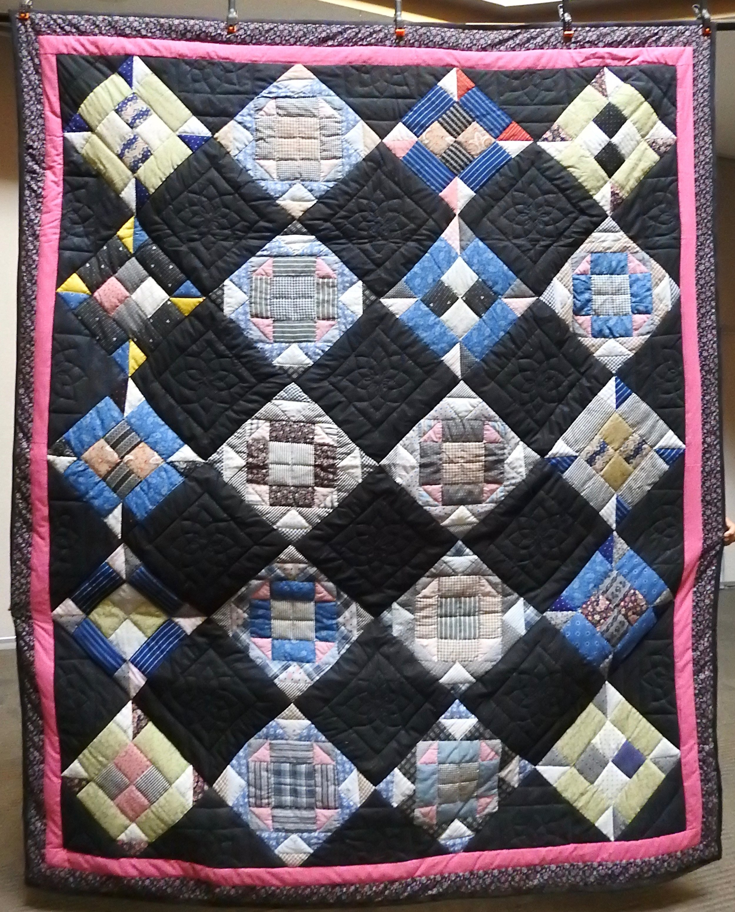 """Winter Dusk, Pieced, Hand Quilted, Signed & Dated, donated by First Mennonite, Middlebury, 74 x 96"""""""