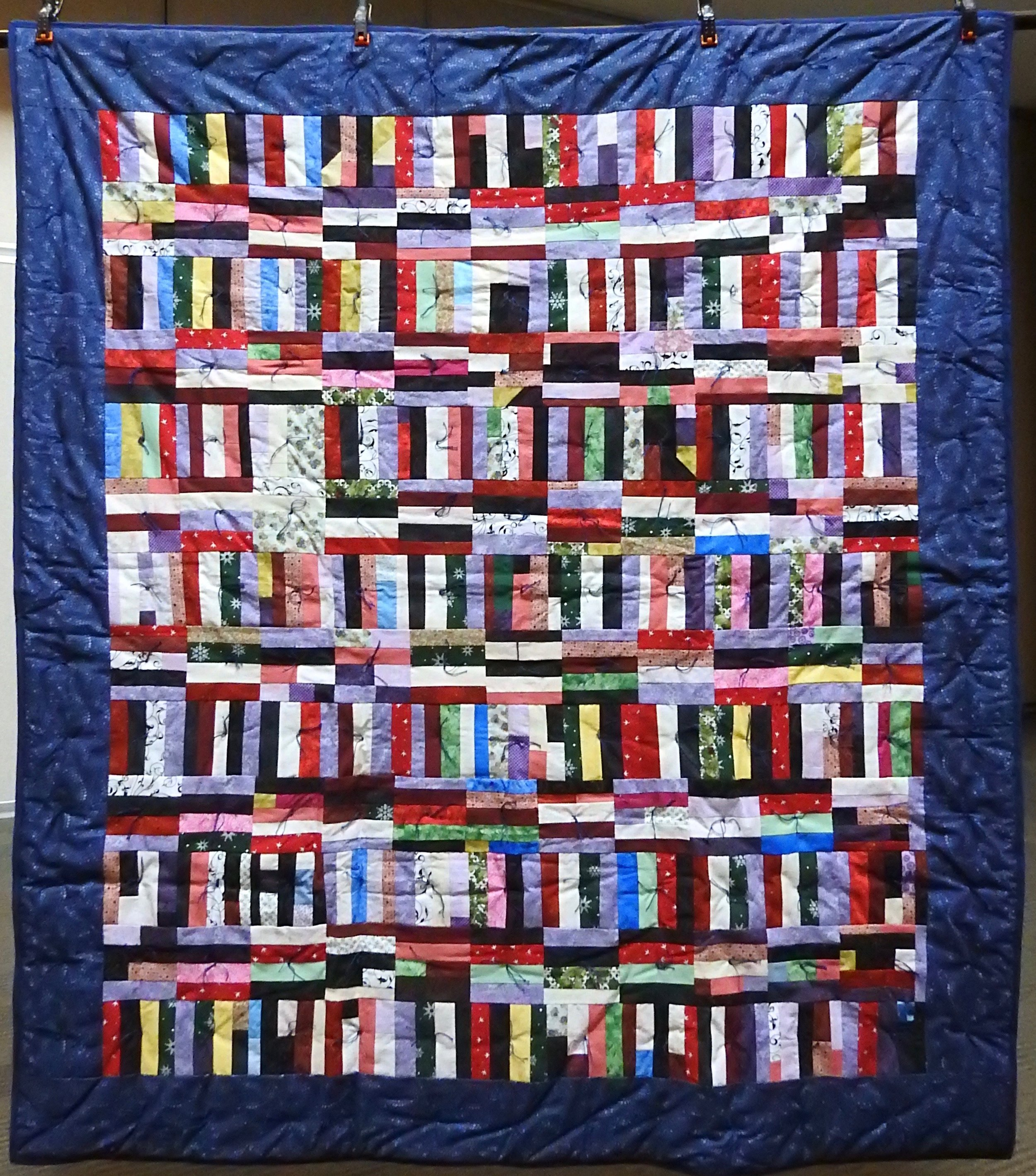 """Strip Pieced Squares Comforter, Pieced, Knotted, Waterford Mennonite Women, 60 x 70"""""""