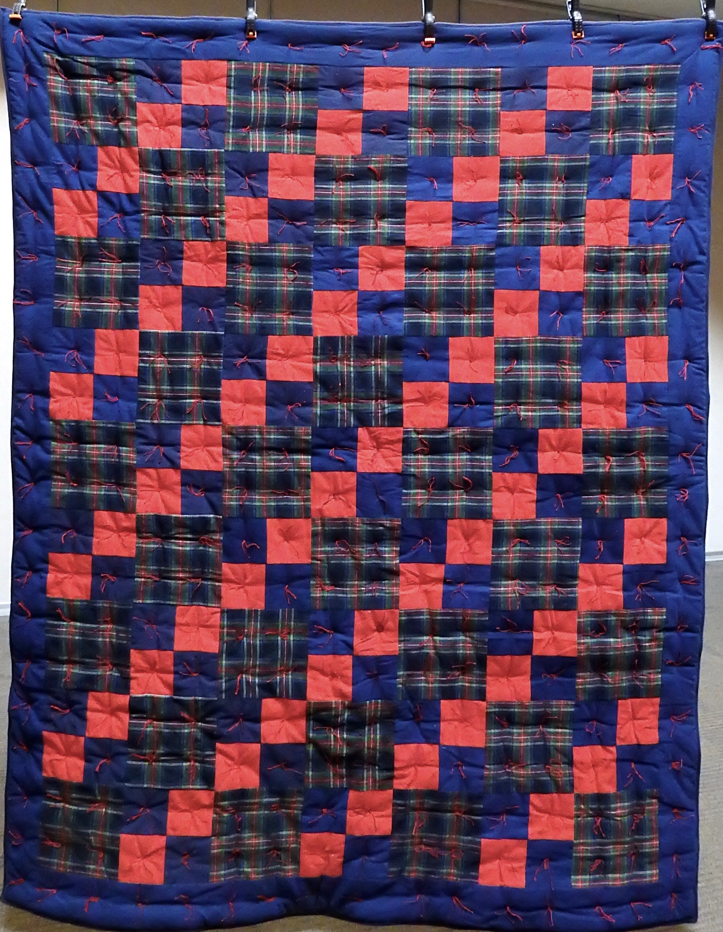 """Plaid Flannel Comforter, Pieced, Knotted, donated by Waterford Mennonite Women, 64 x 76"""""""