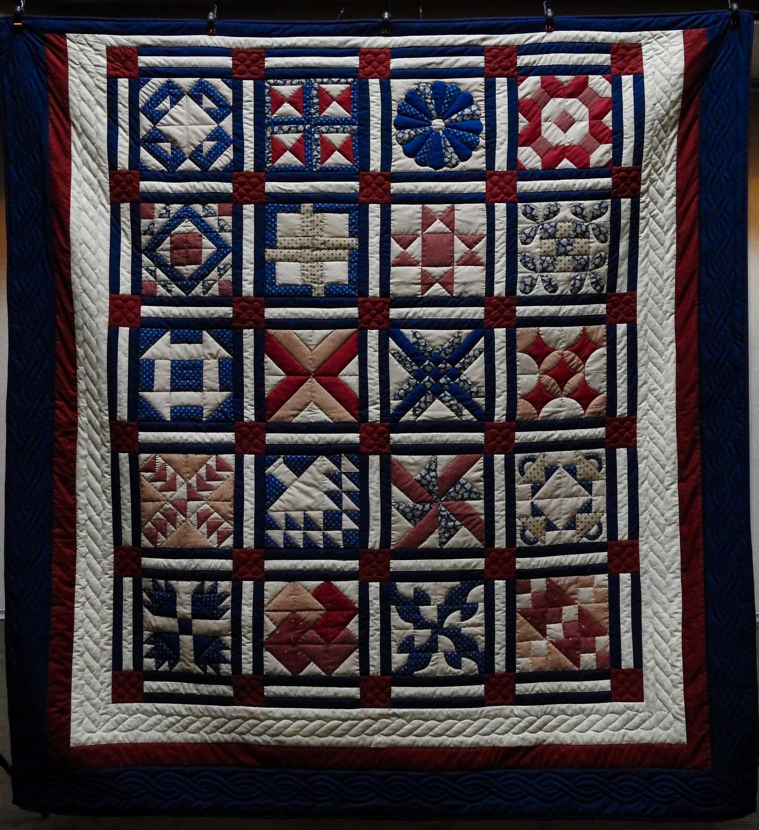 Sampler, Pieced, Hand Quilted, donated by The Depot Quilt Room
