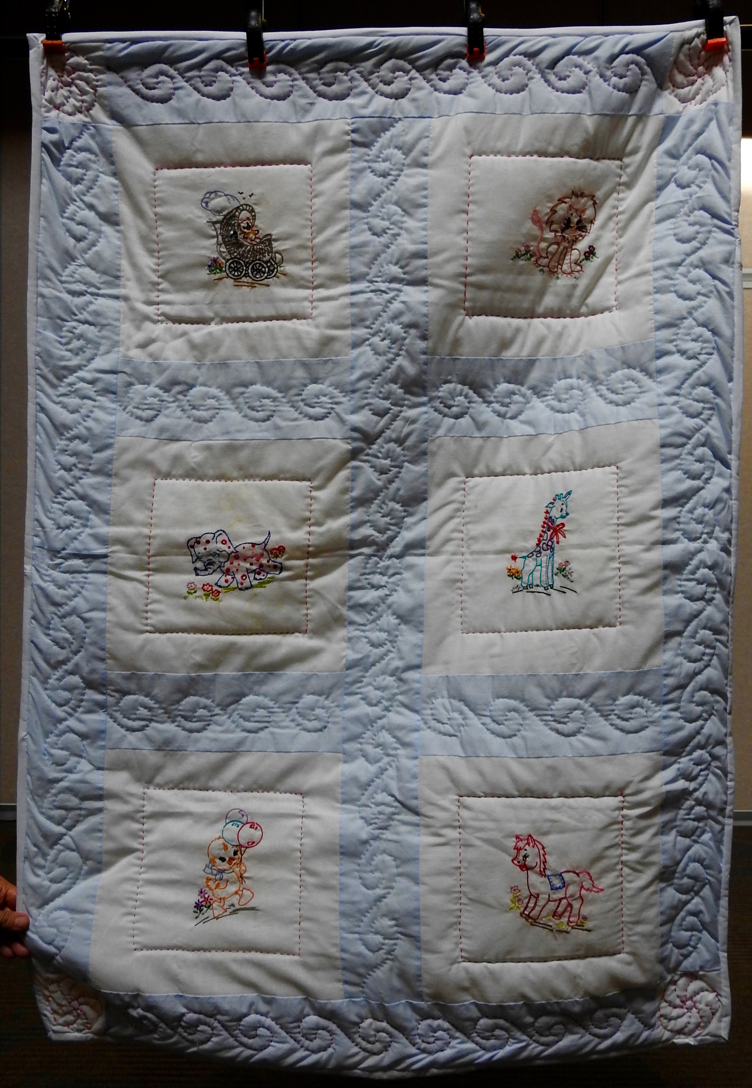 """Animal Fun Baby Quilt, Pieced, Embroidered, Long Stitch Hand Quilted, donated by First Mennonite, Middlebury, 35 x 50"""""""