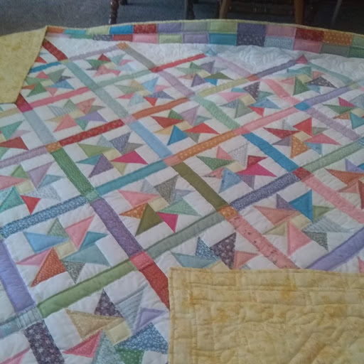 """Pinwheel Star, Pieced, Hand Quilted, donated by Riverview Christian Fellowship, 95 x 113"""""""