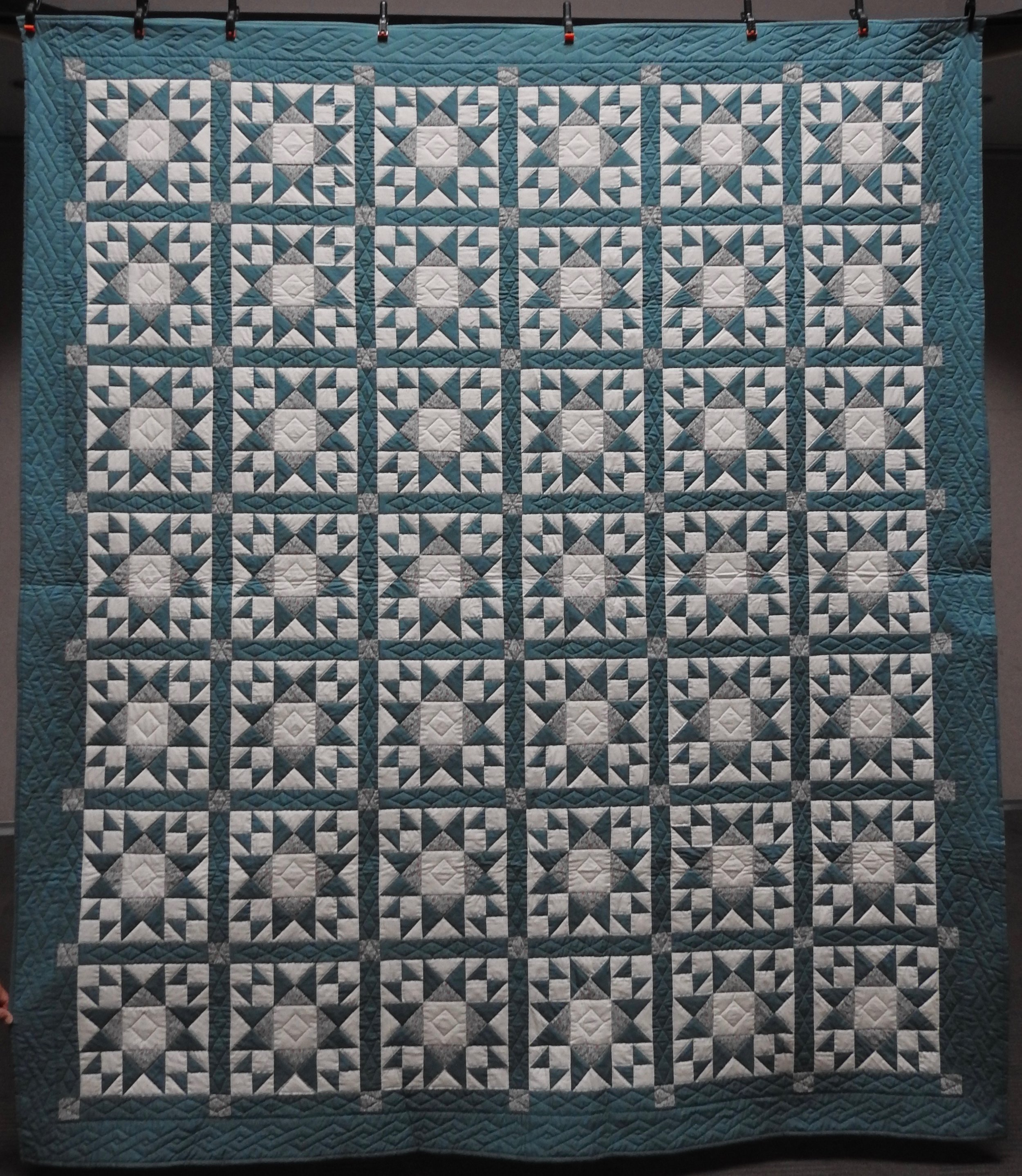 """Ohio Star Variation, Pieced, Hand Quilted, 93 x 106"""""""