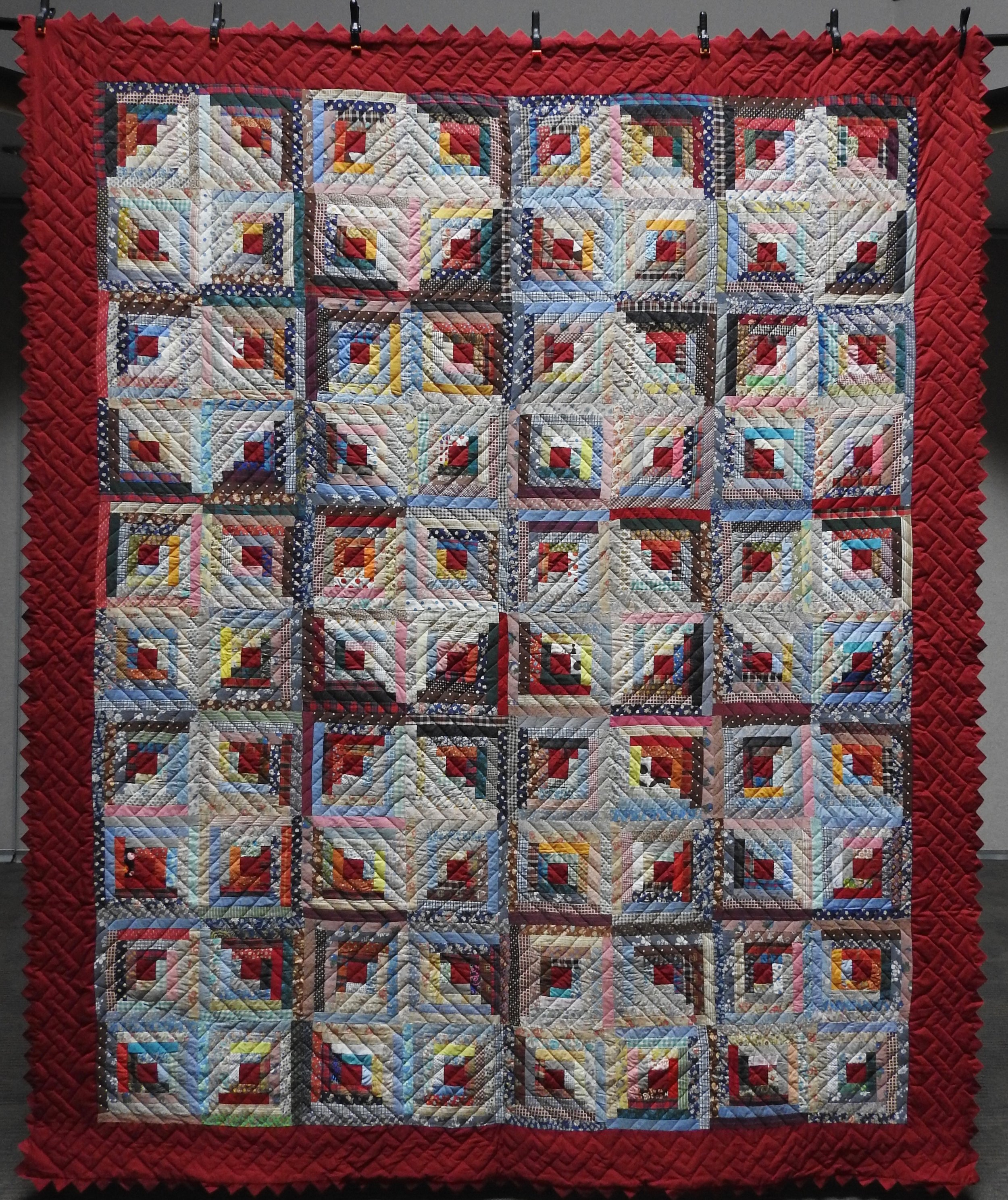 """Scrappy Log Cabin with Prairie Points, Pieced & Hand Quilted, 92 x 11"""""""