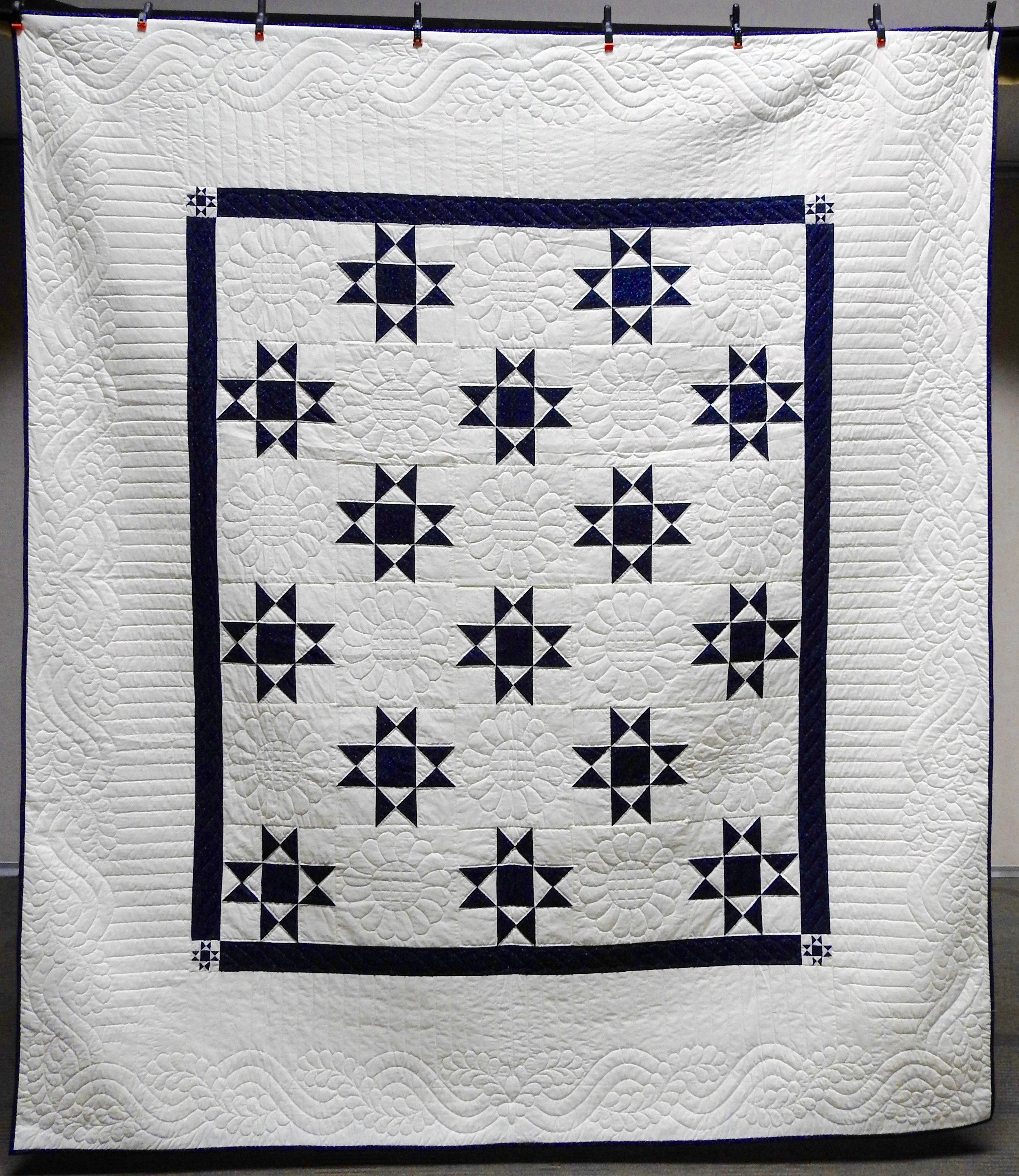 """Ohio Star, Pieced & Hand Quilted, 98 x 111"""""""