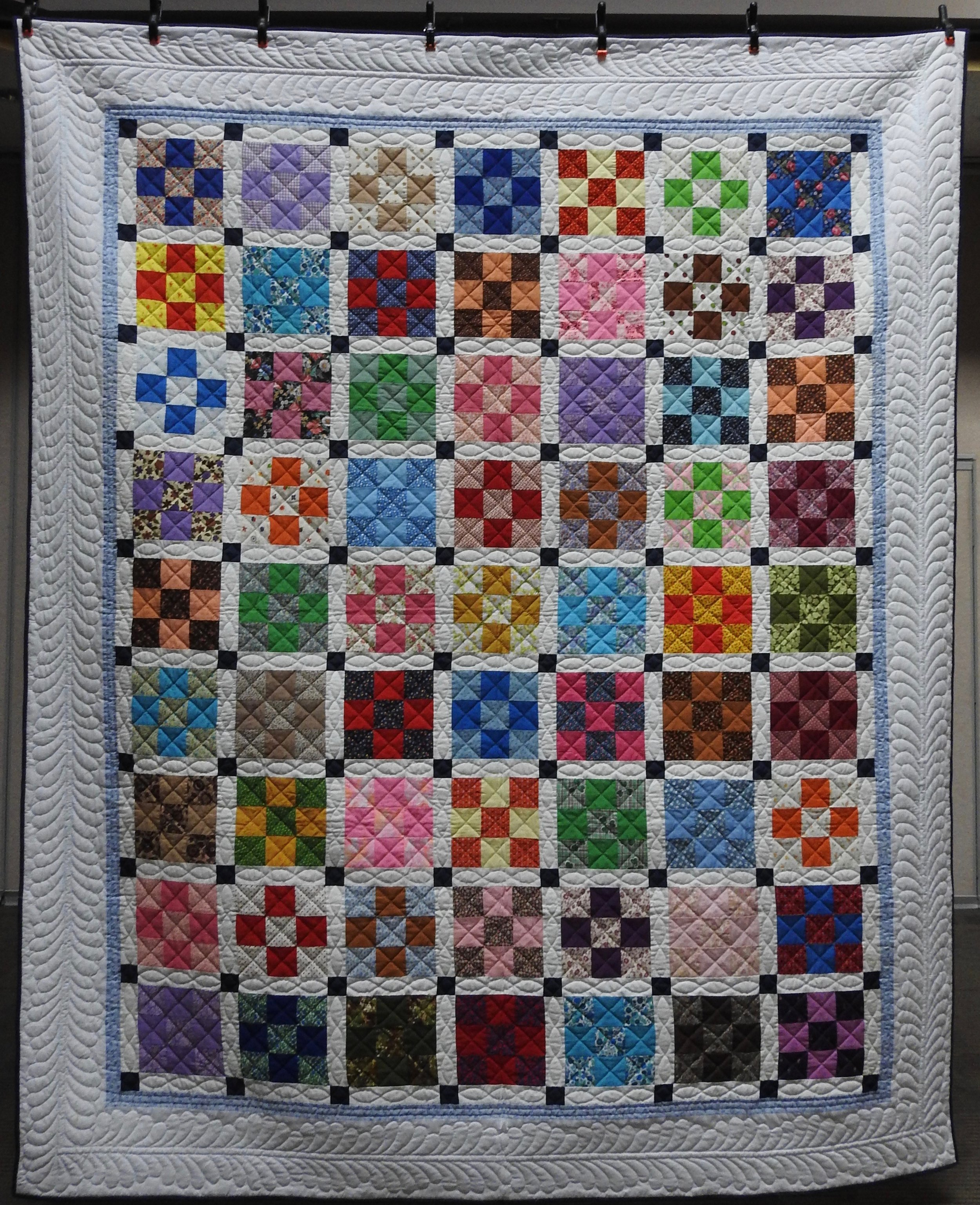 """Happy Nine Patch, Pieced & Hand Quilted, 89 x 108"""""""