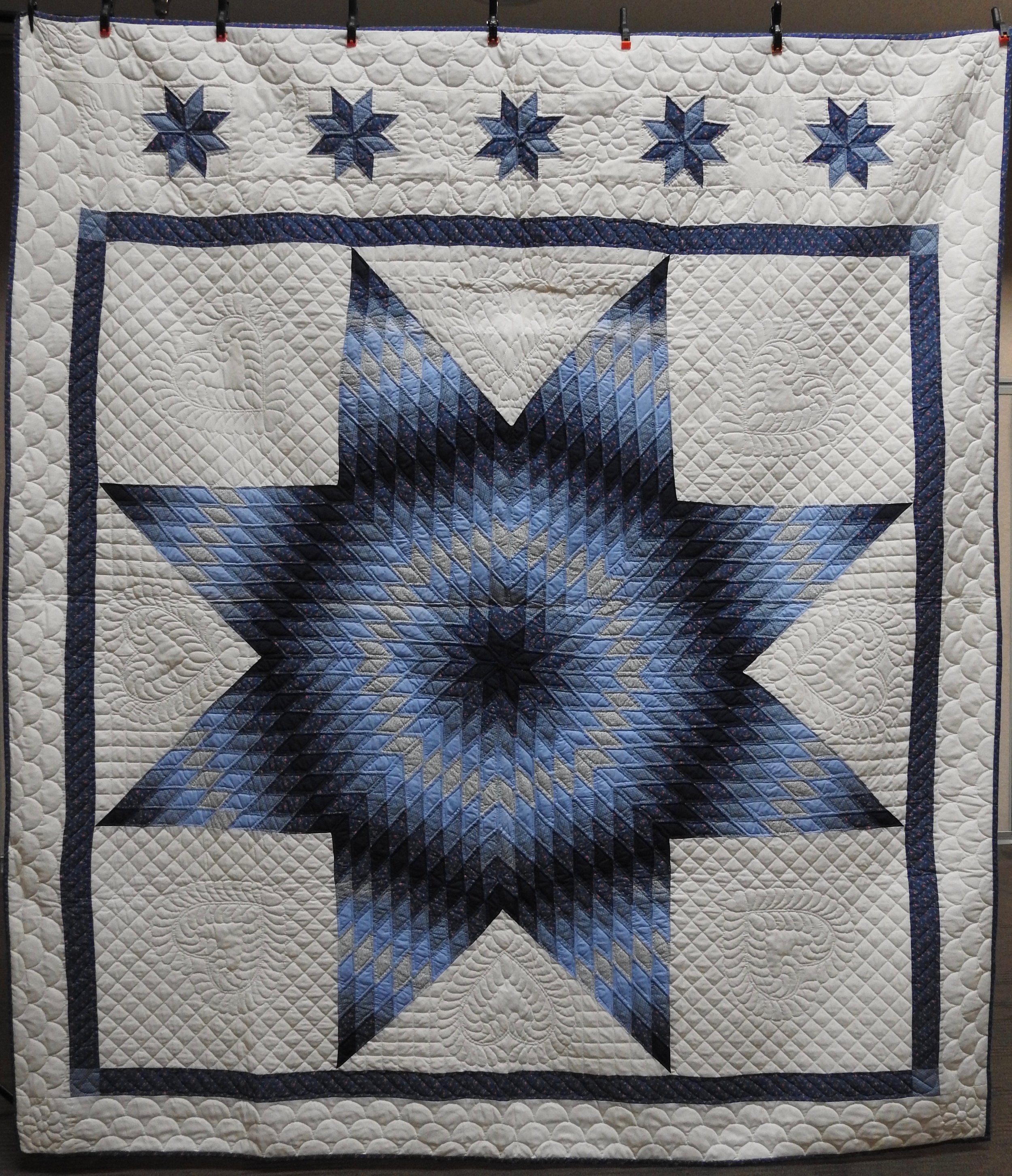"""Lone Star, Pieced & Hand Quilted, 96 x 106"""""""