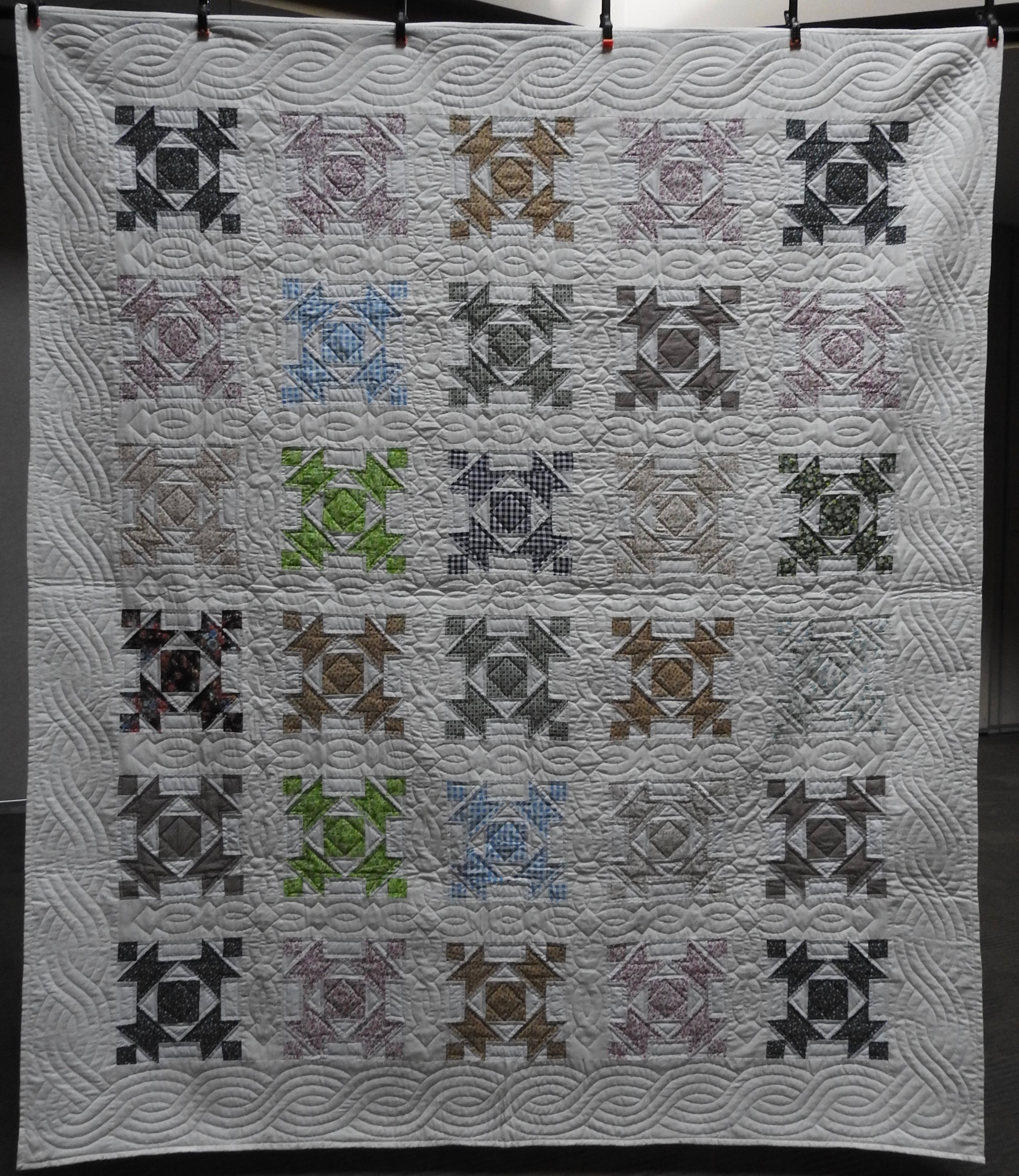 """Anvils & Squares, Pieced & Hand Quilted, 82 x 96"""""""