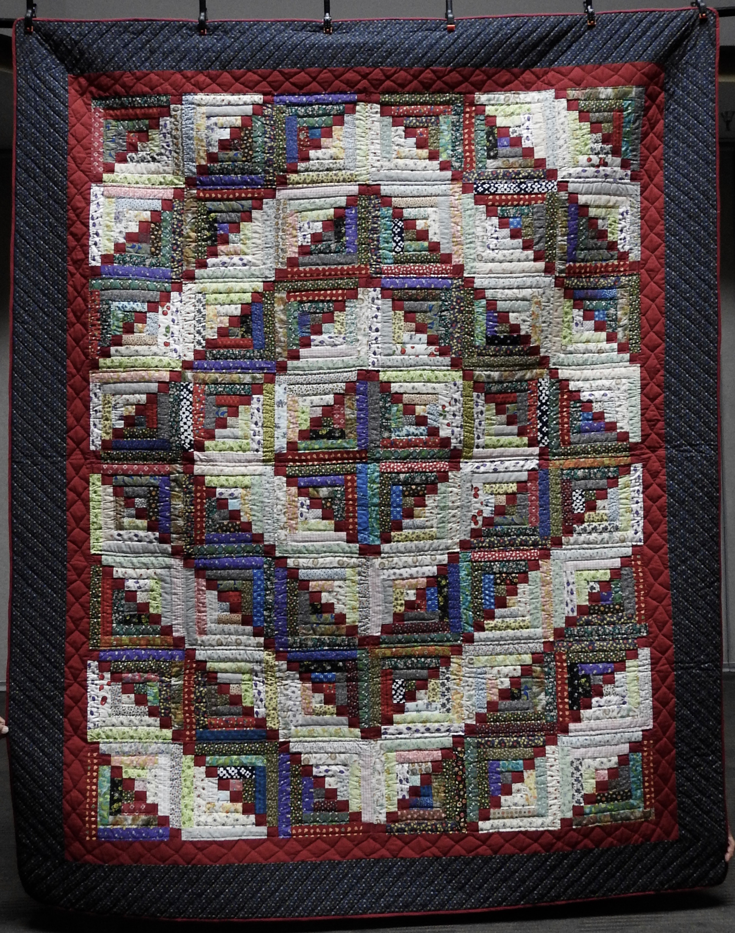"""Log Cabin Plus, Pieced & Hand Quilted, 86 x 105"""""""