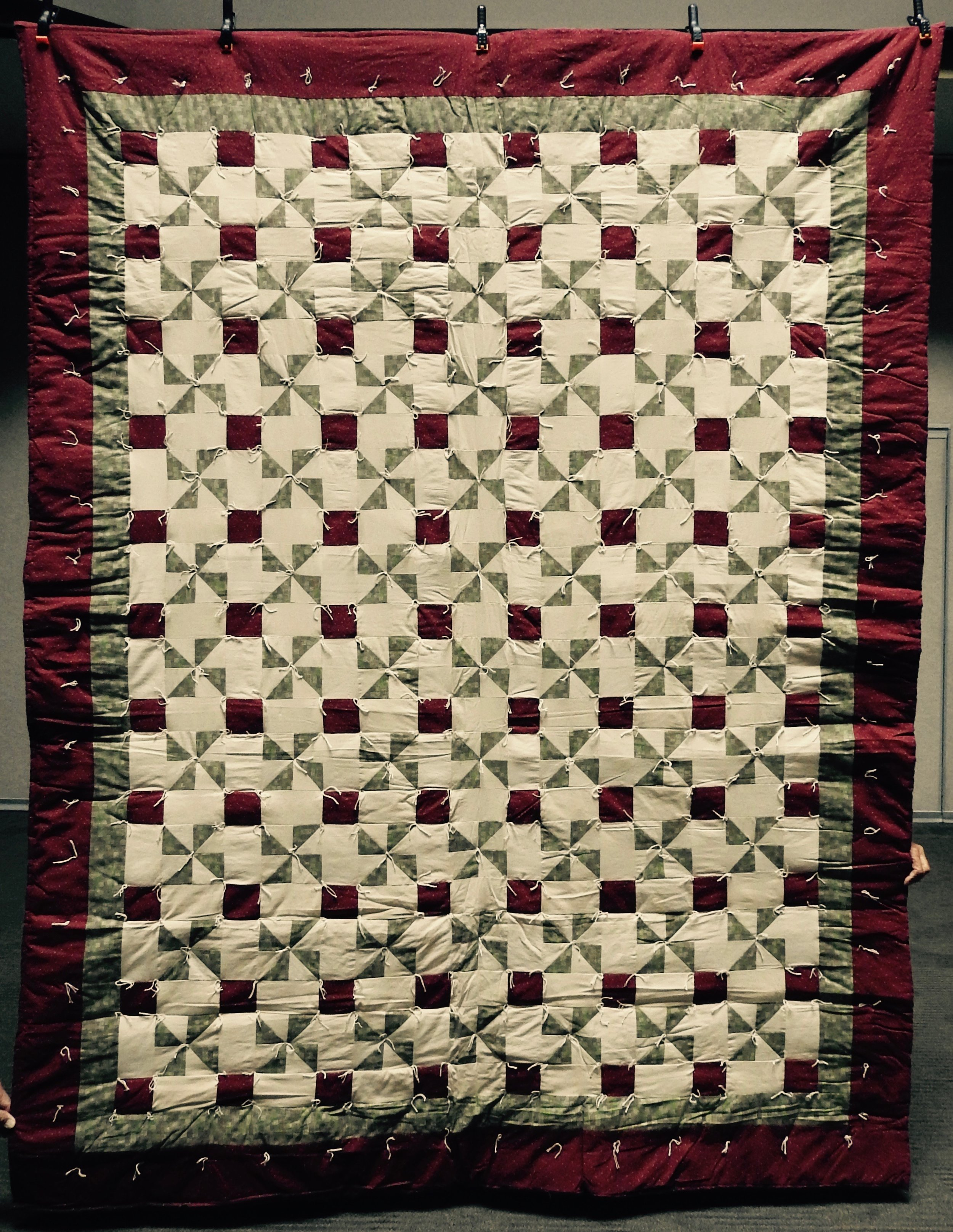 """Nine Patch Pinwheel, Pieced & Knotted, 74 x 97"""""""