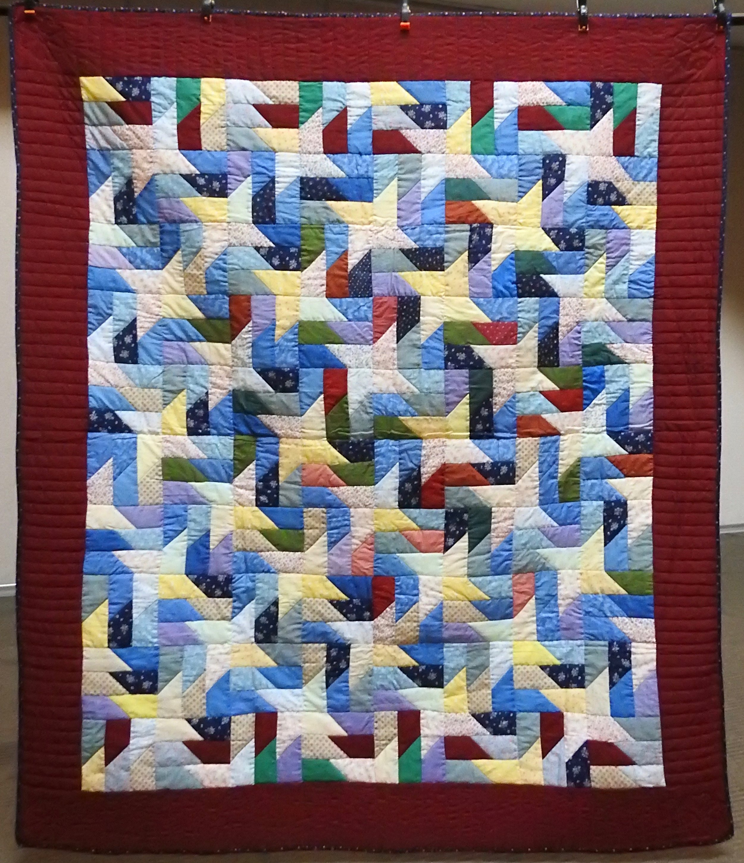 """Scrappy Pinwheel, Pieced & Hand Quilted, 72 x 82"""""""