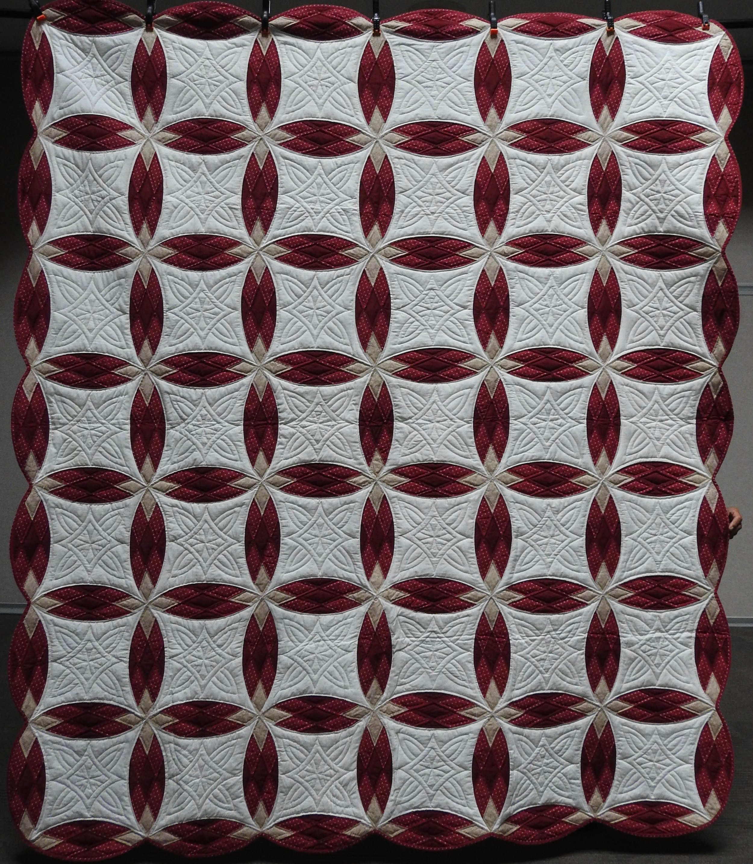 """Diamond Rings, Pieced & Hand Quilted, 87 x 100"""""""