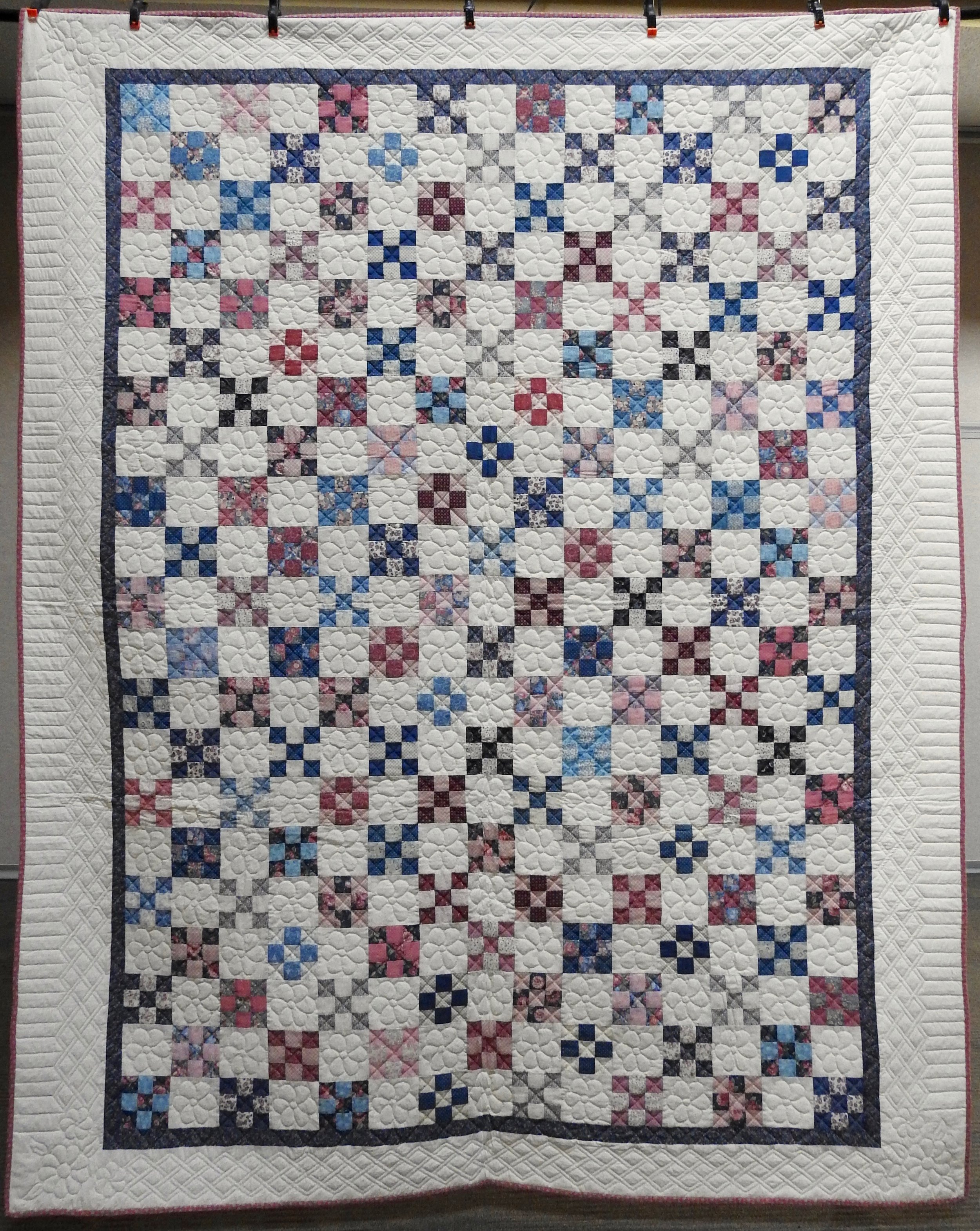 """Nine Patch Delight, Pieced & Hand Quilted, Signed & Dated, 86 x 108"""""""