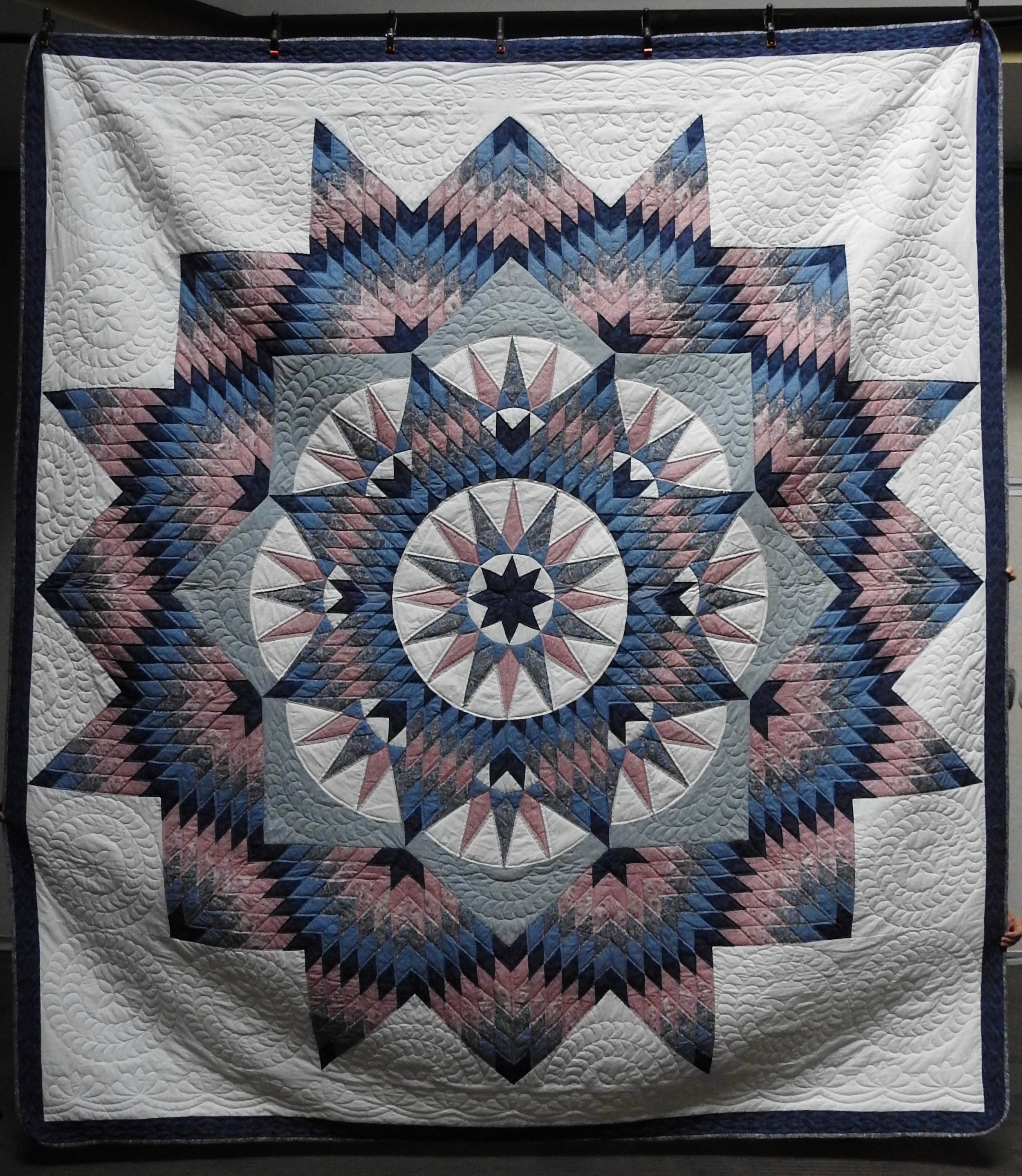 """Mariners Compass Star, Pieced & Hand Quilted, 106 x 130"""""""